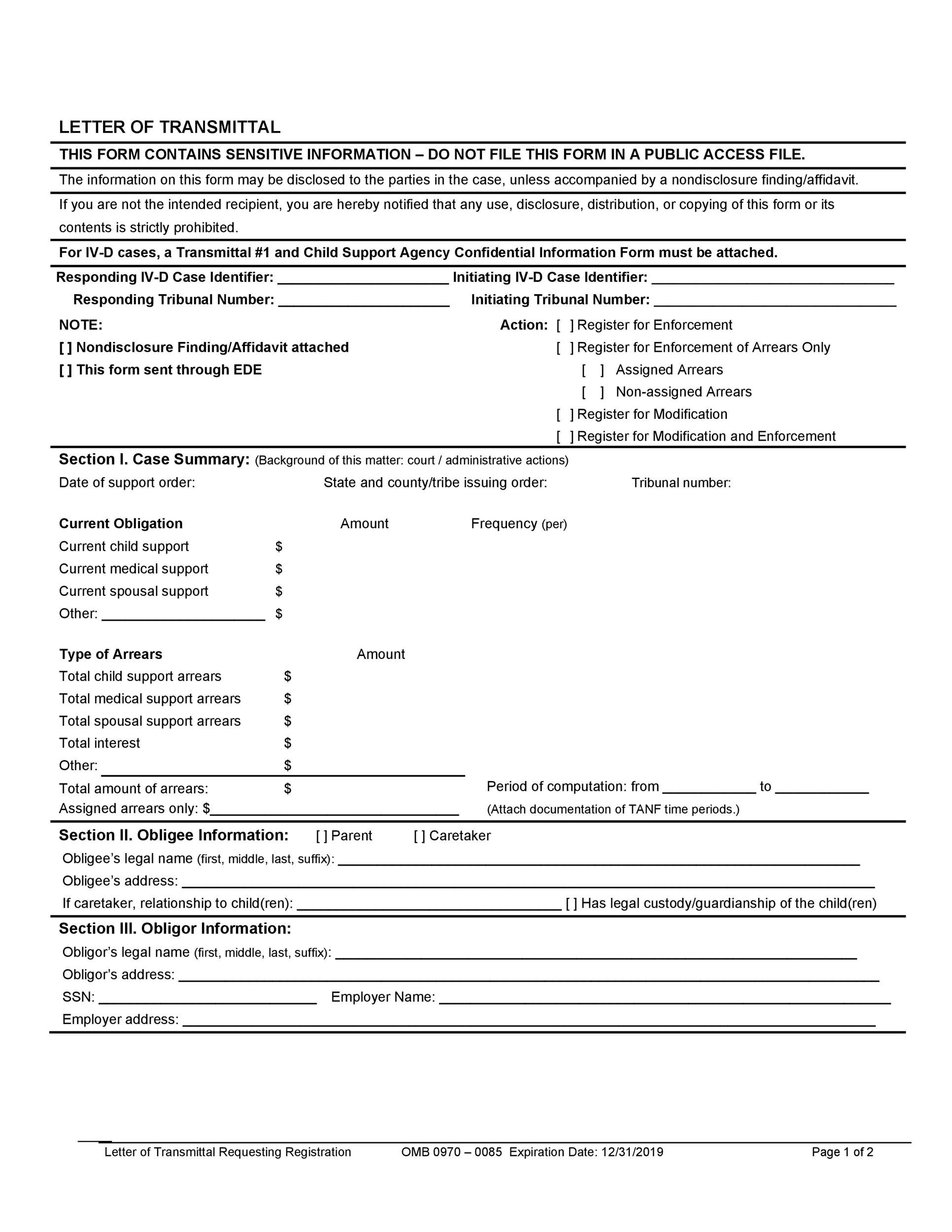 Free letter of transmittal template 21