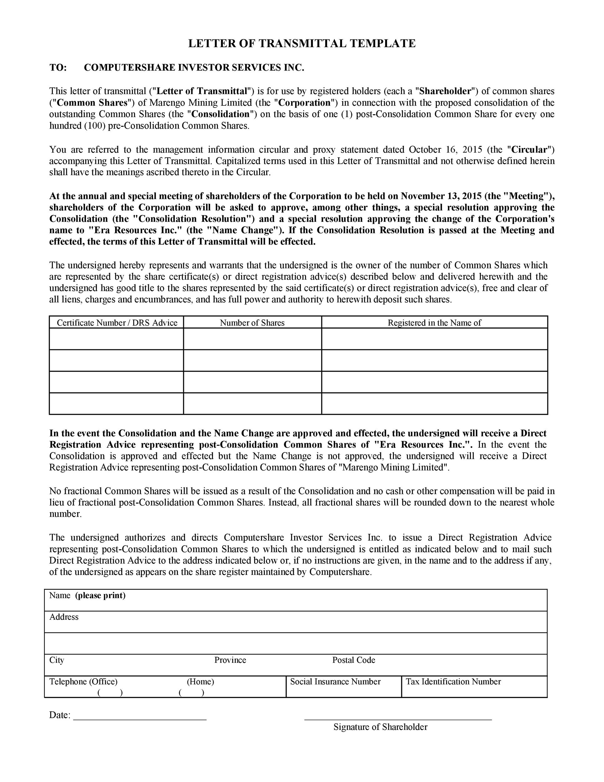 Free letter of transmittal template 23