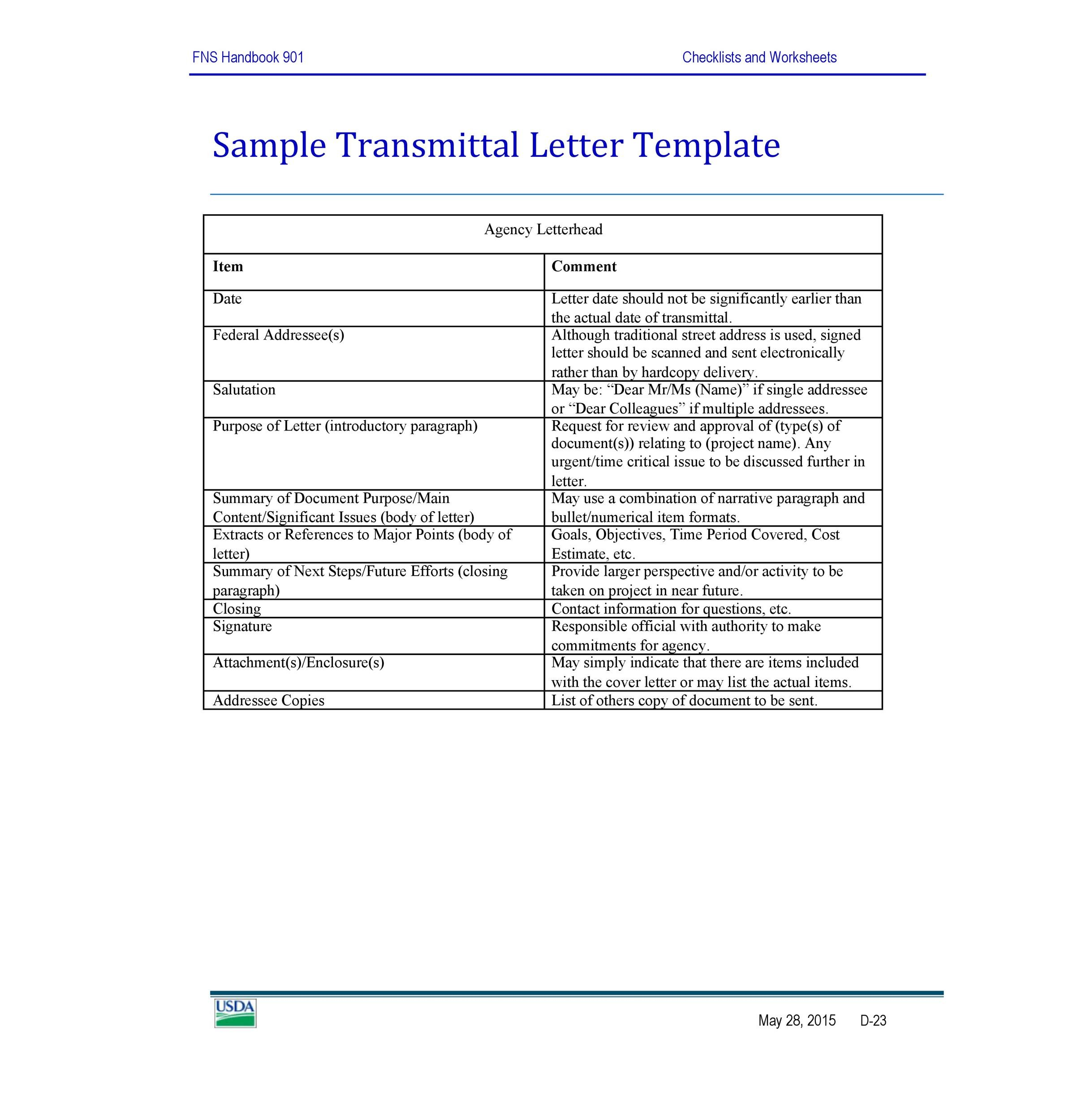 Free letter of transmittal template 26