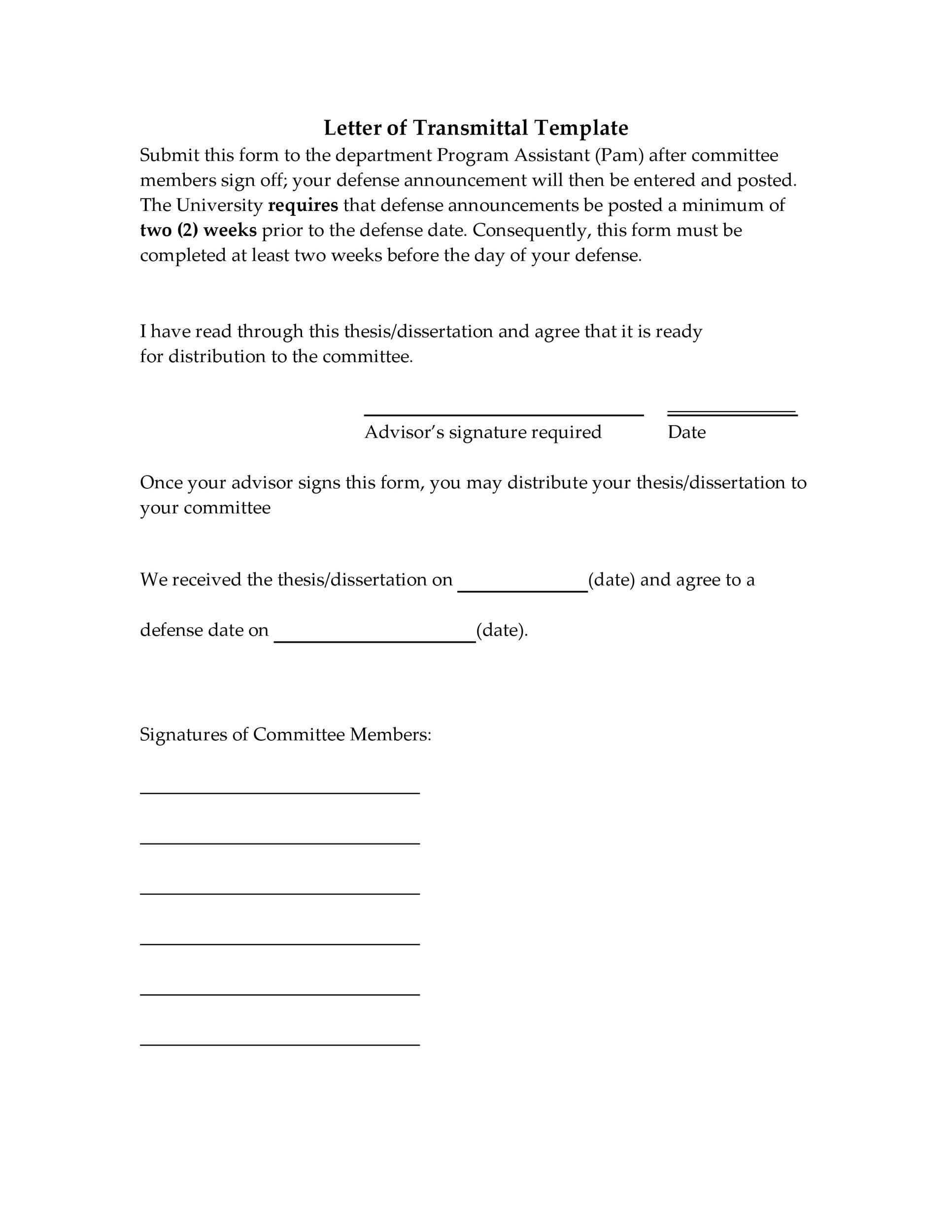 Free letter of transmittal template 28