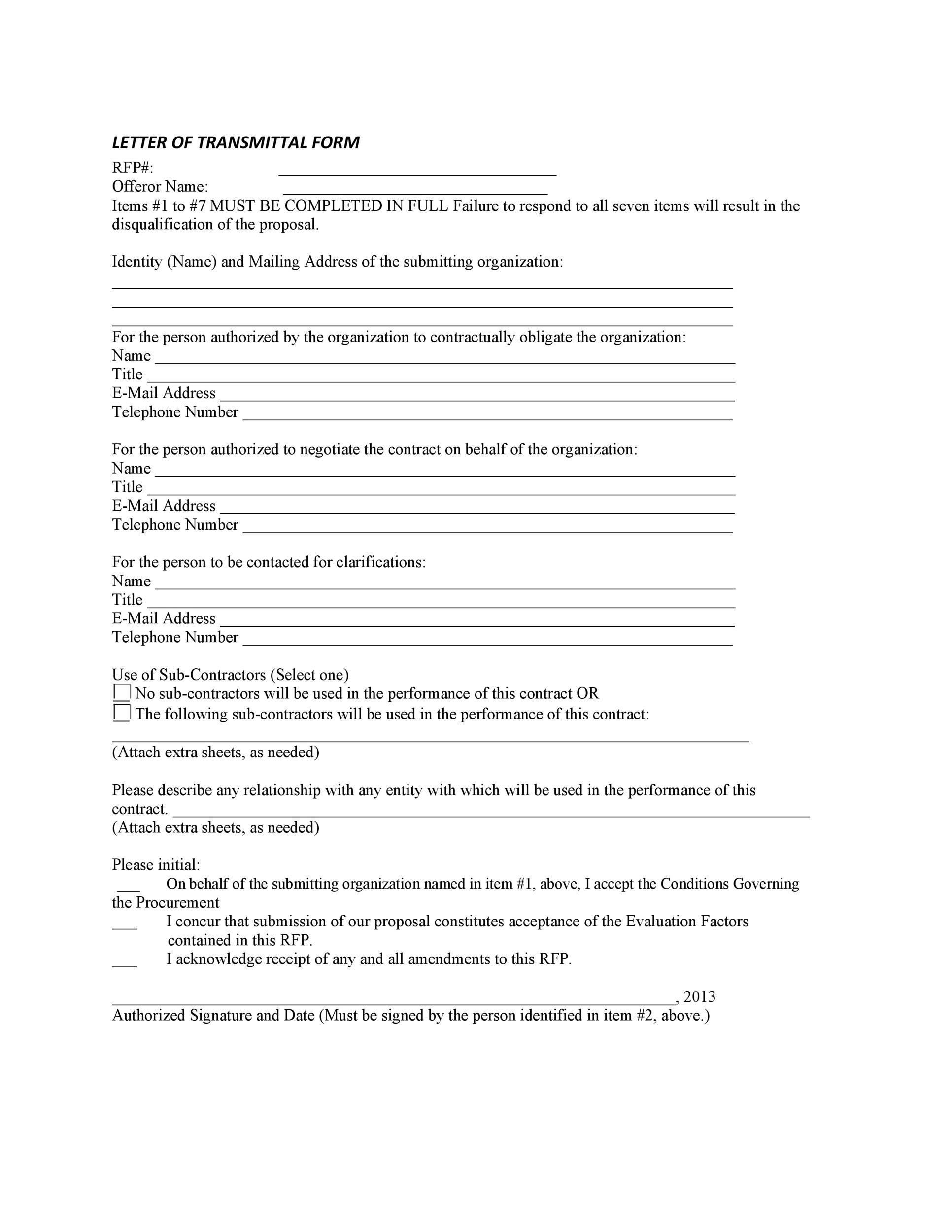 Printable Letter Of Transmittal Template 33  Letter Of Transmittal For Proposal