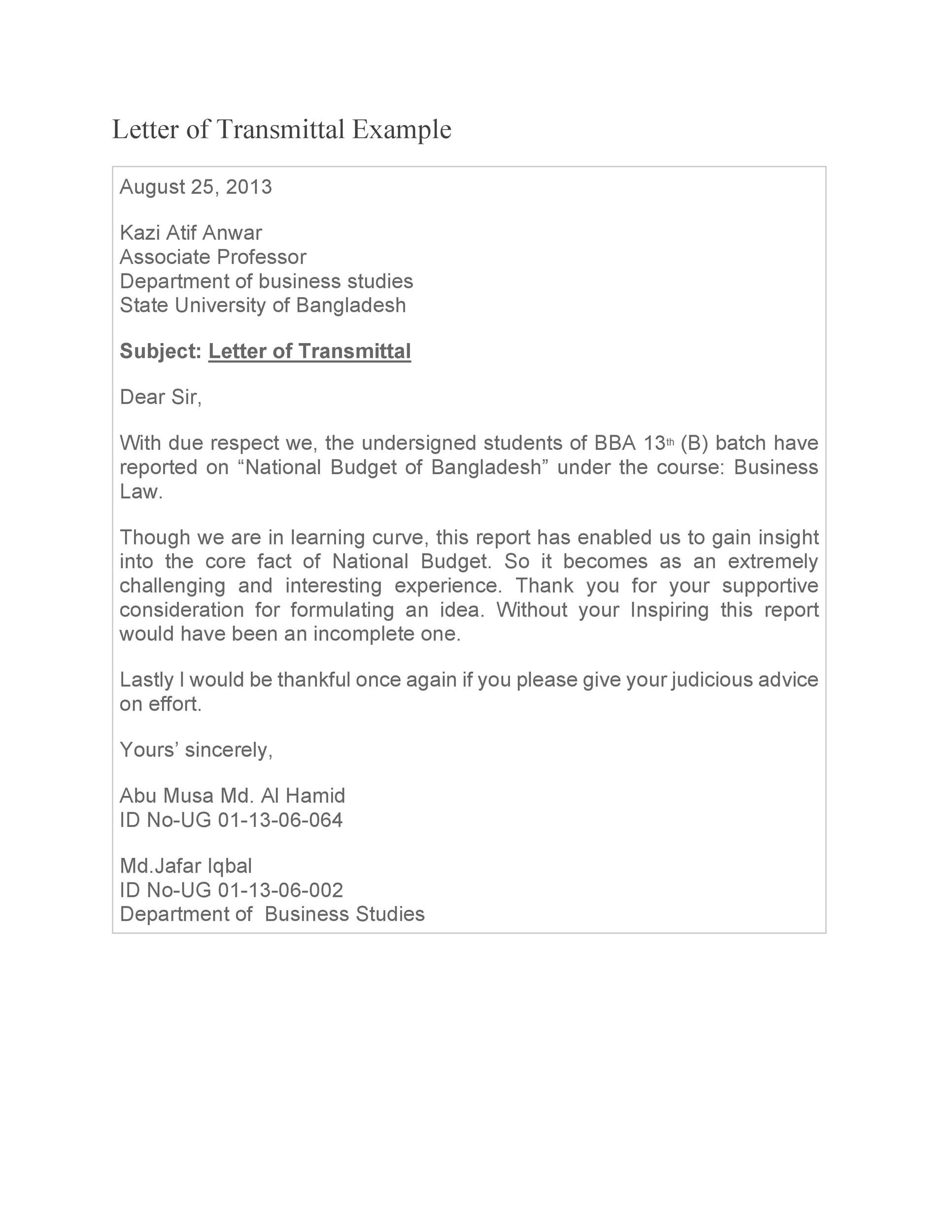 Free letter of transmittal template 35