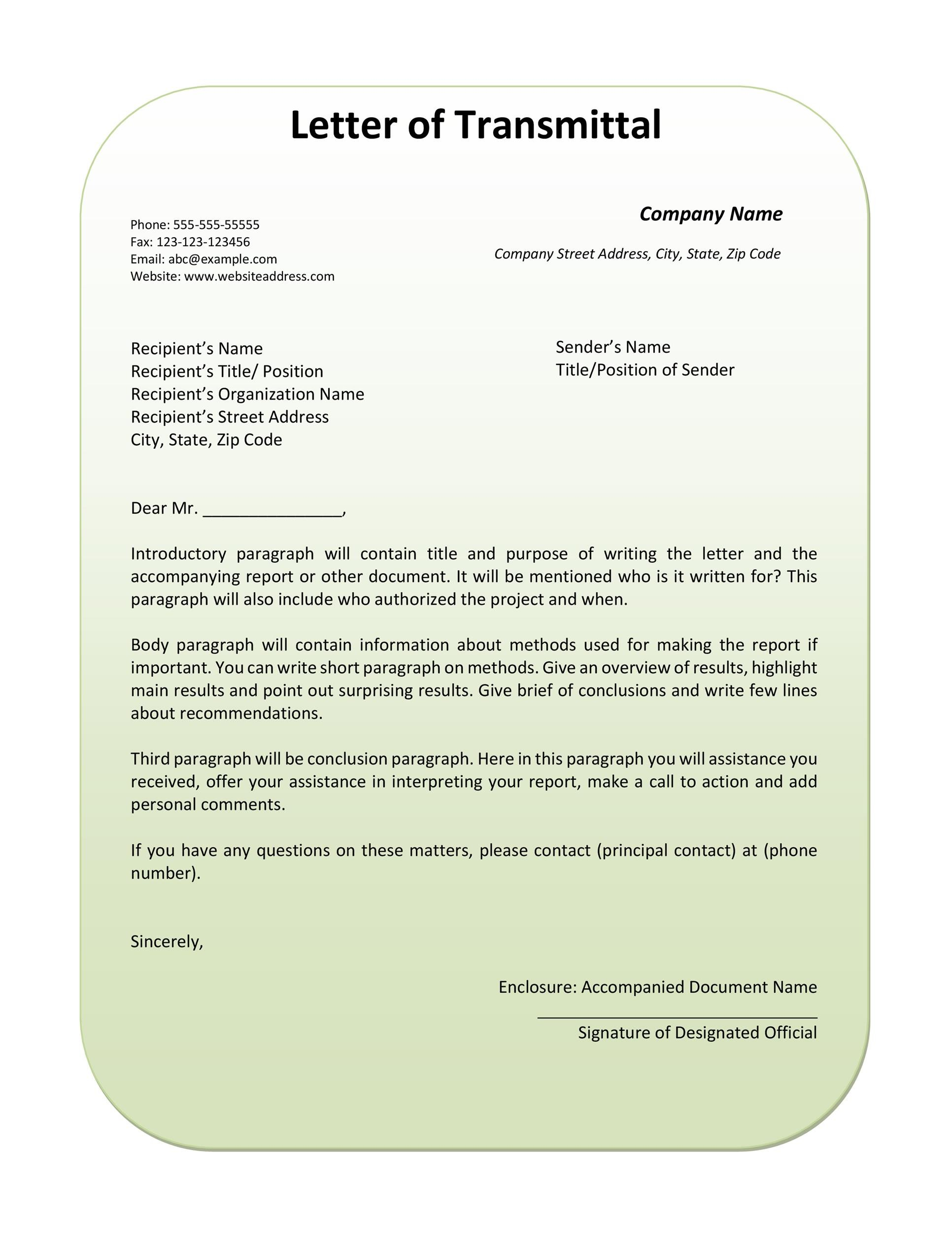 Free letter of transmittal template 37