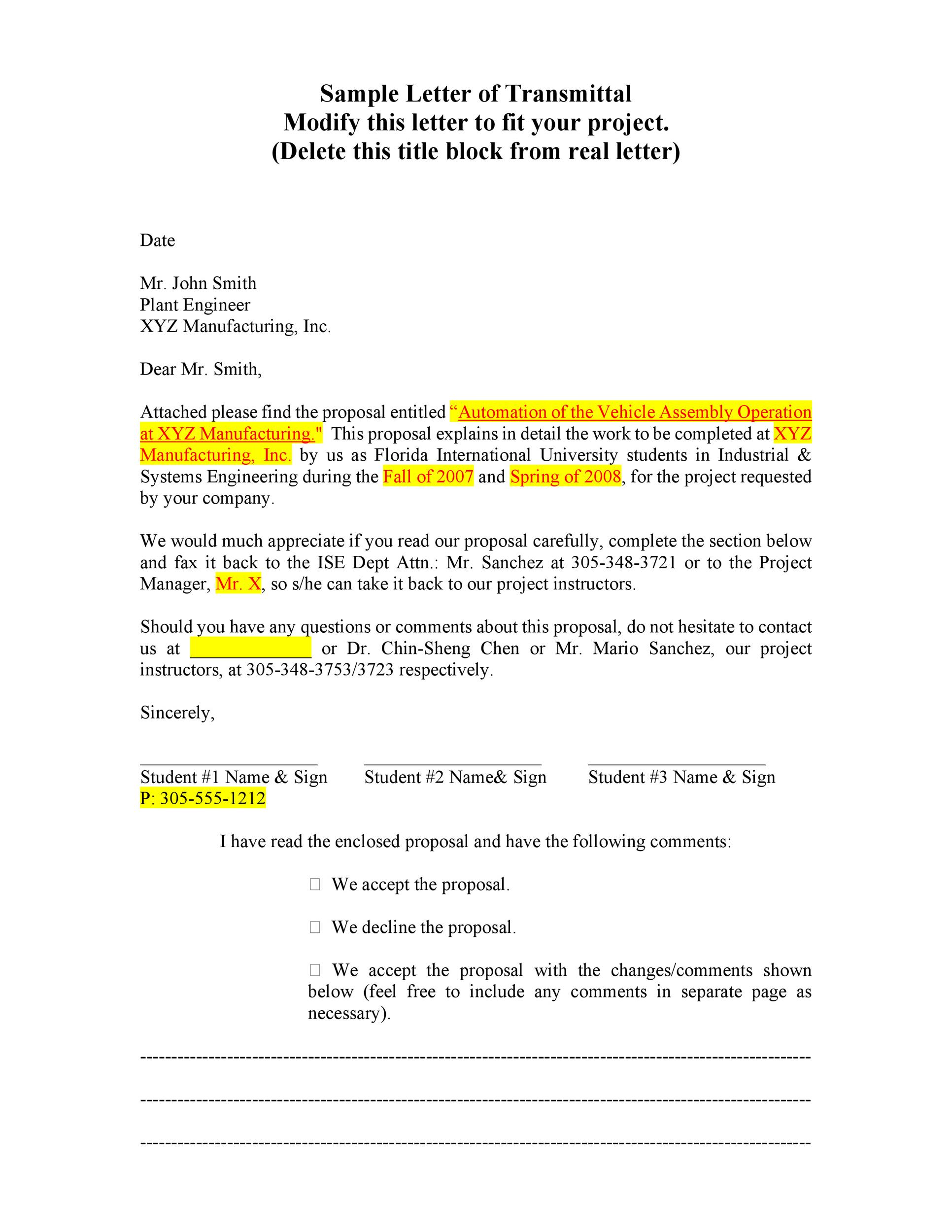 Letter of Transmittal 40 Great Examples Templates Template Lab – Letter of Transmittal for Proposal