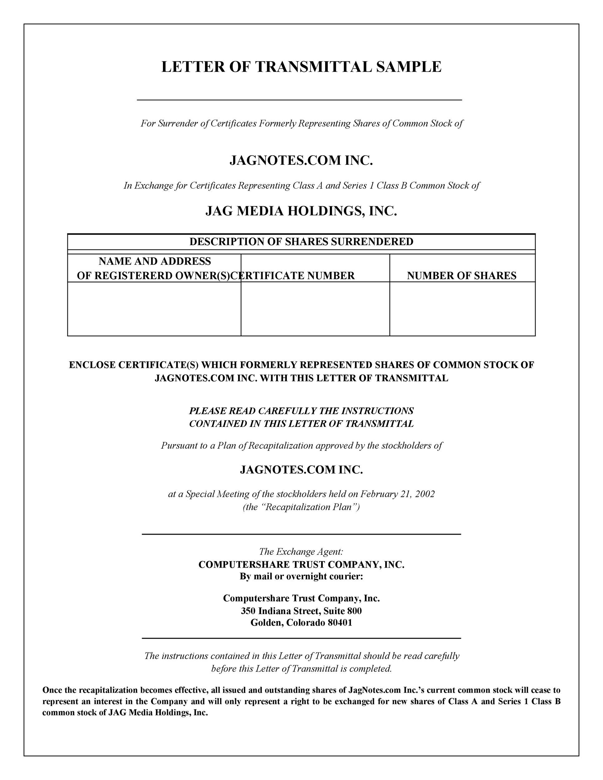 free letter of transmittal template 42