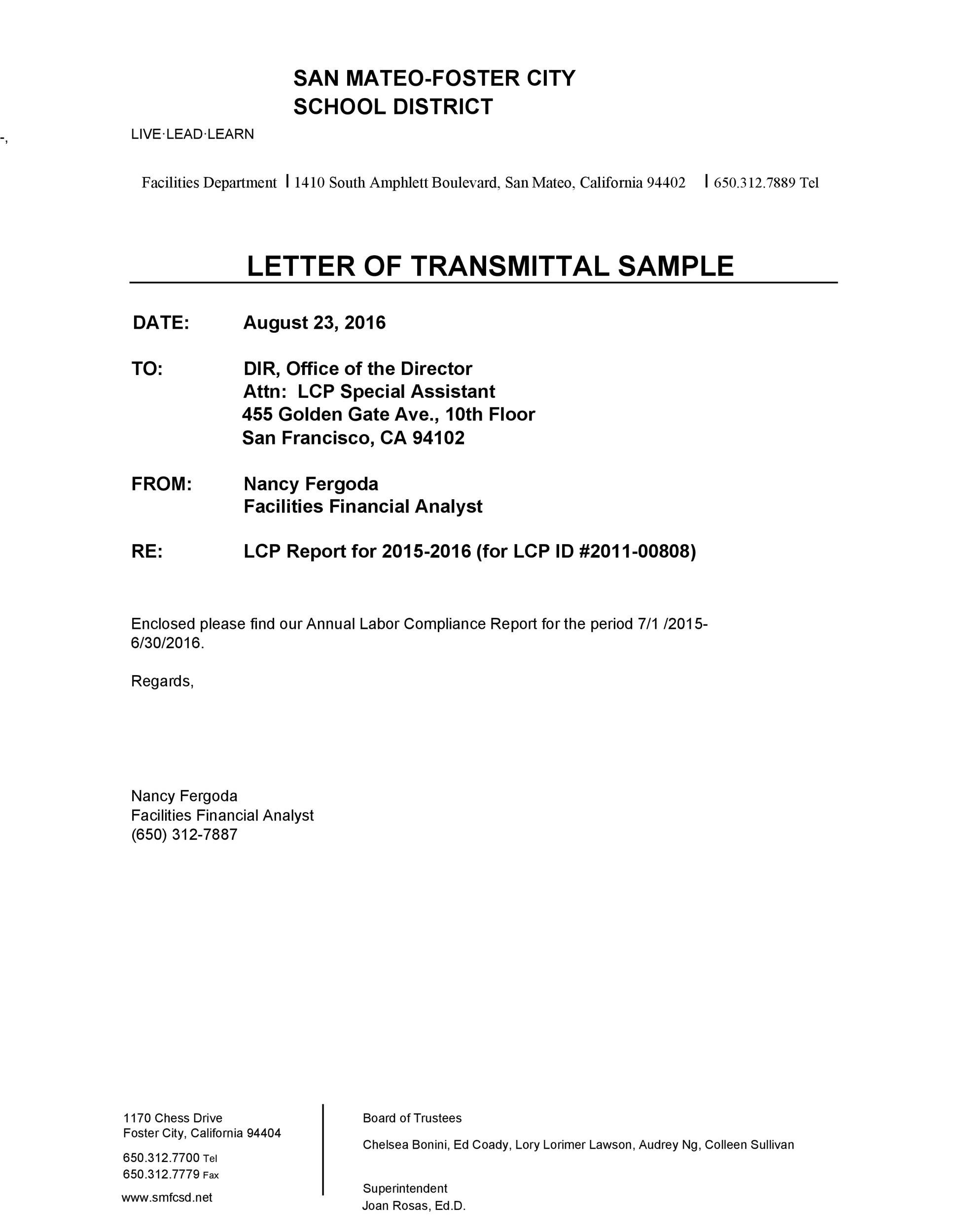 Printable Letter Of Transmittal Template 43  Letter Of Transmittal Sample