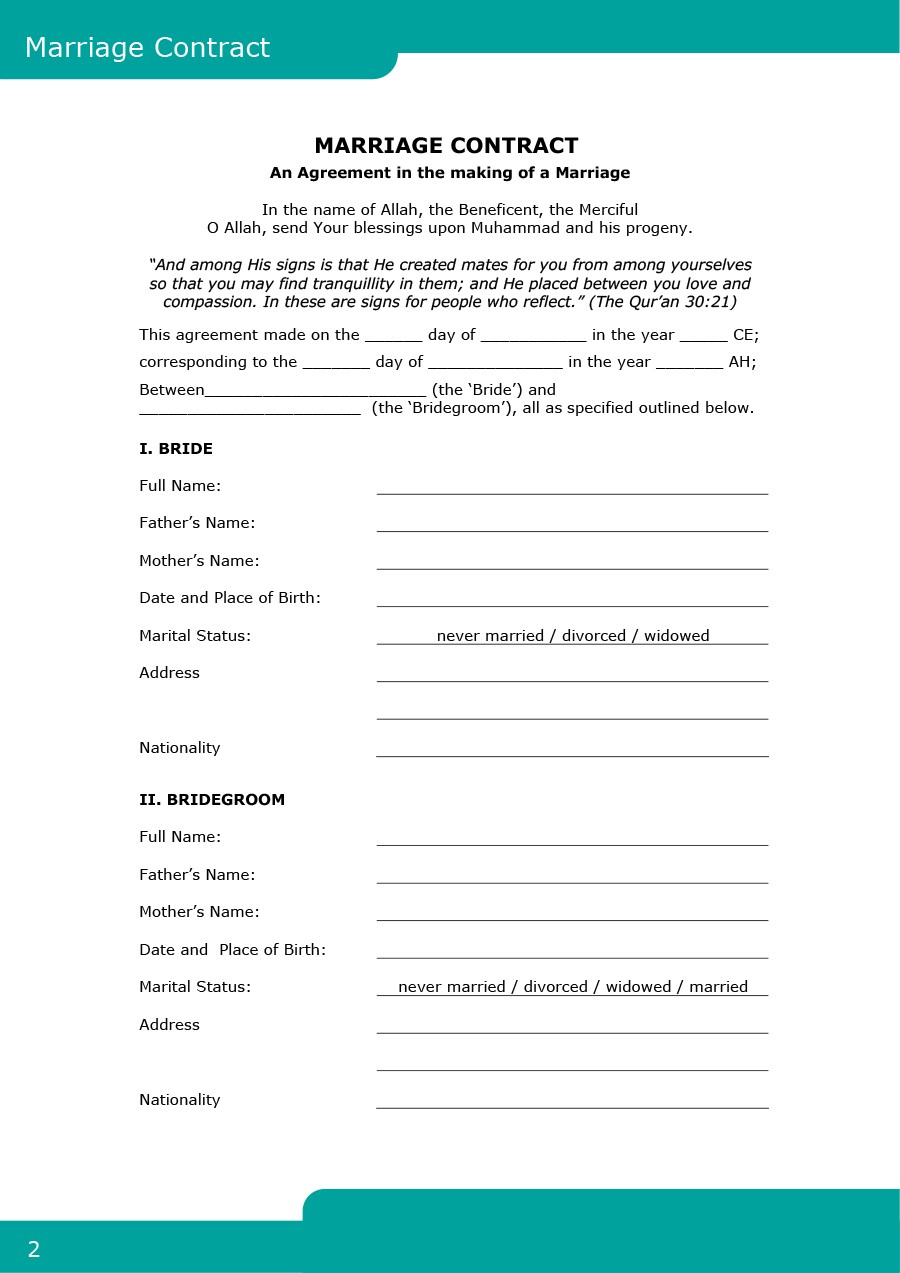 ordinaire Free marriage contract template 01