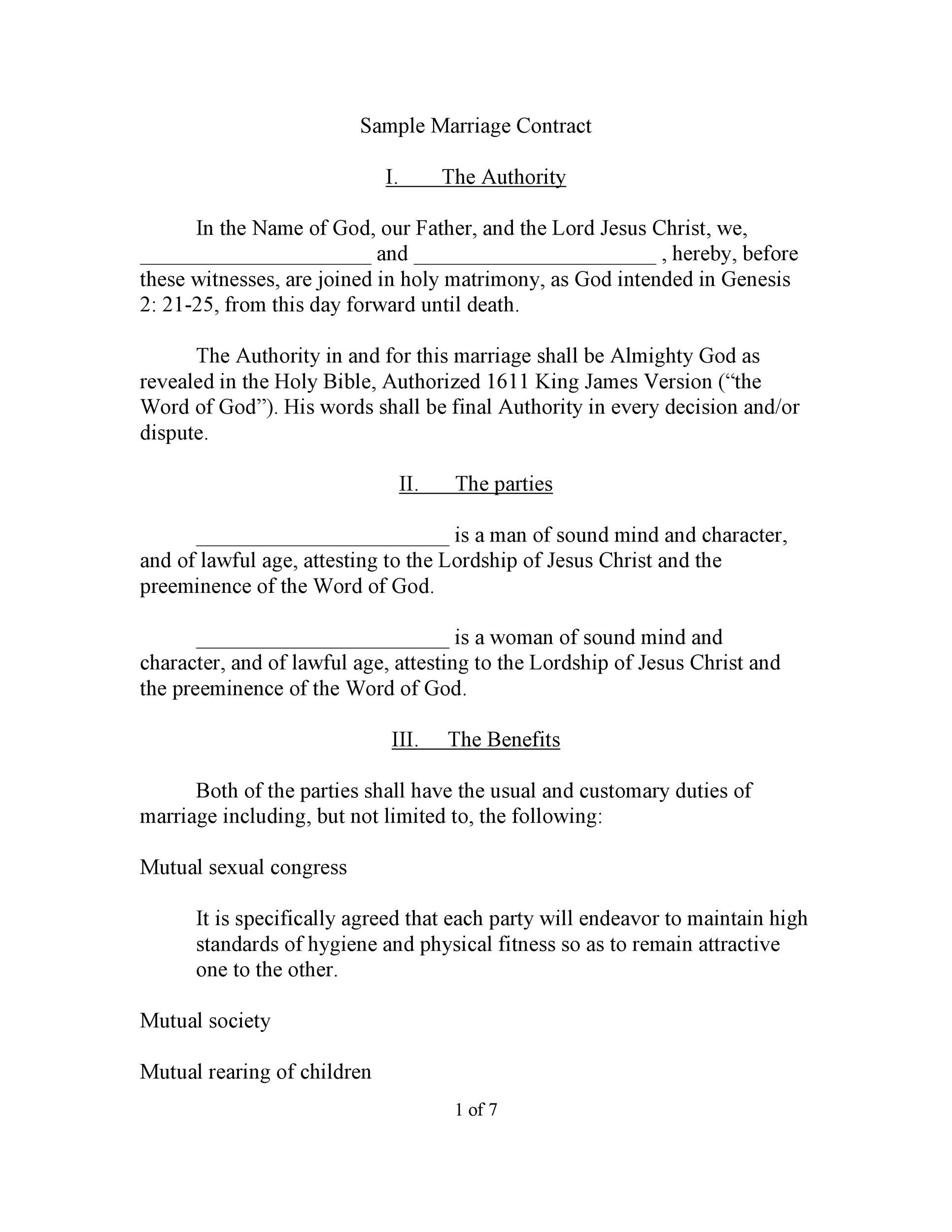 Printable Marriage Contract Template 04  Basic Contract Outline