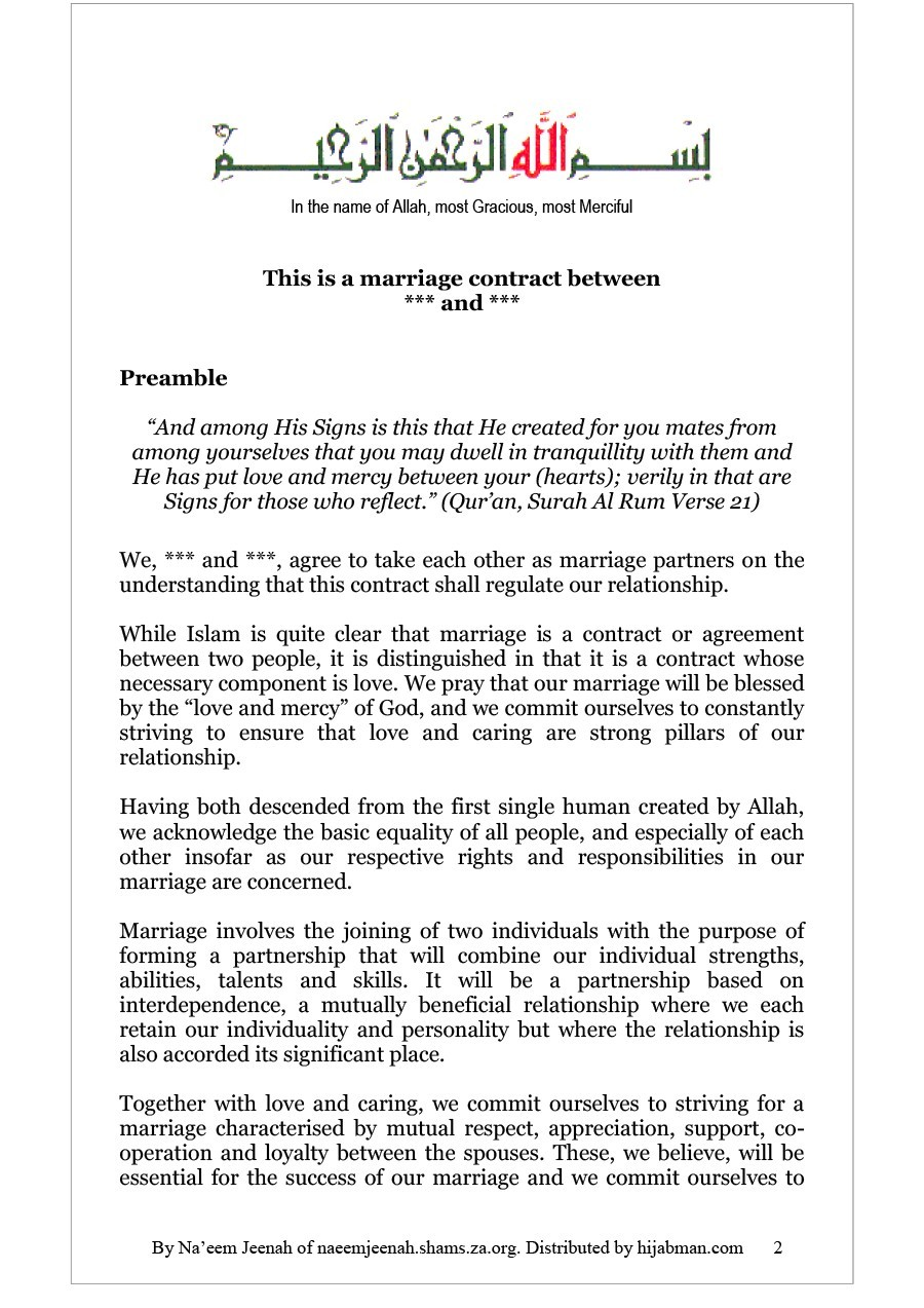 Printable Marriage Contract Template 05  Contract Between Two People