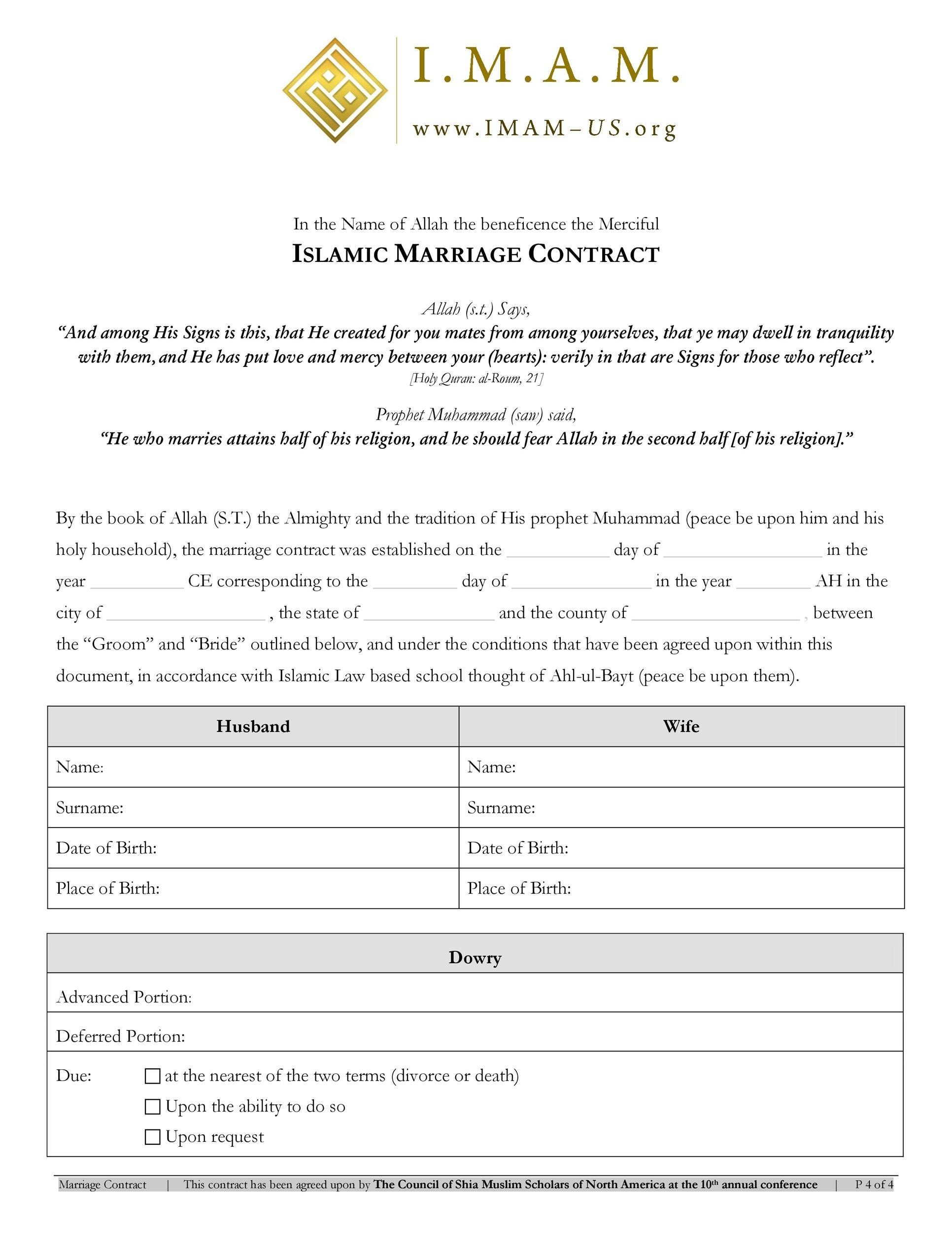 Free marriage contract template 06