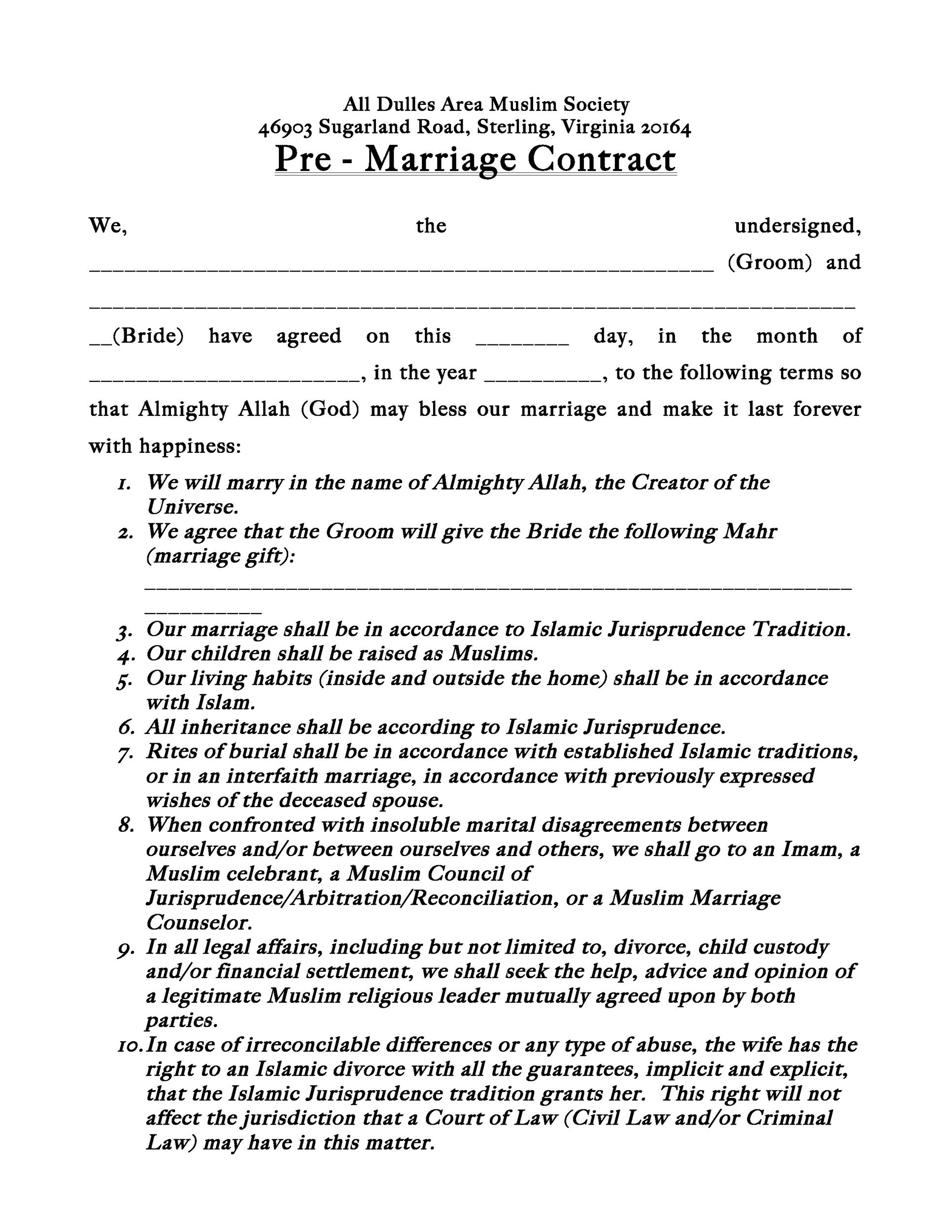 Free marriage contract template 09
