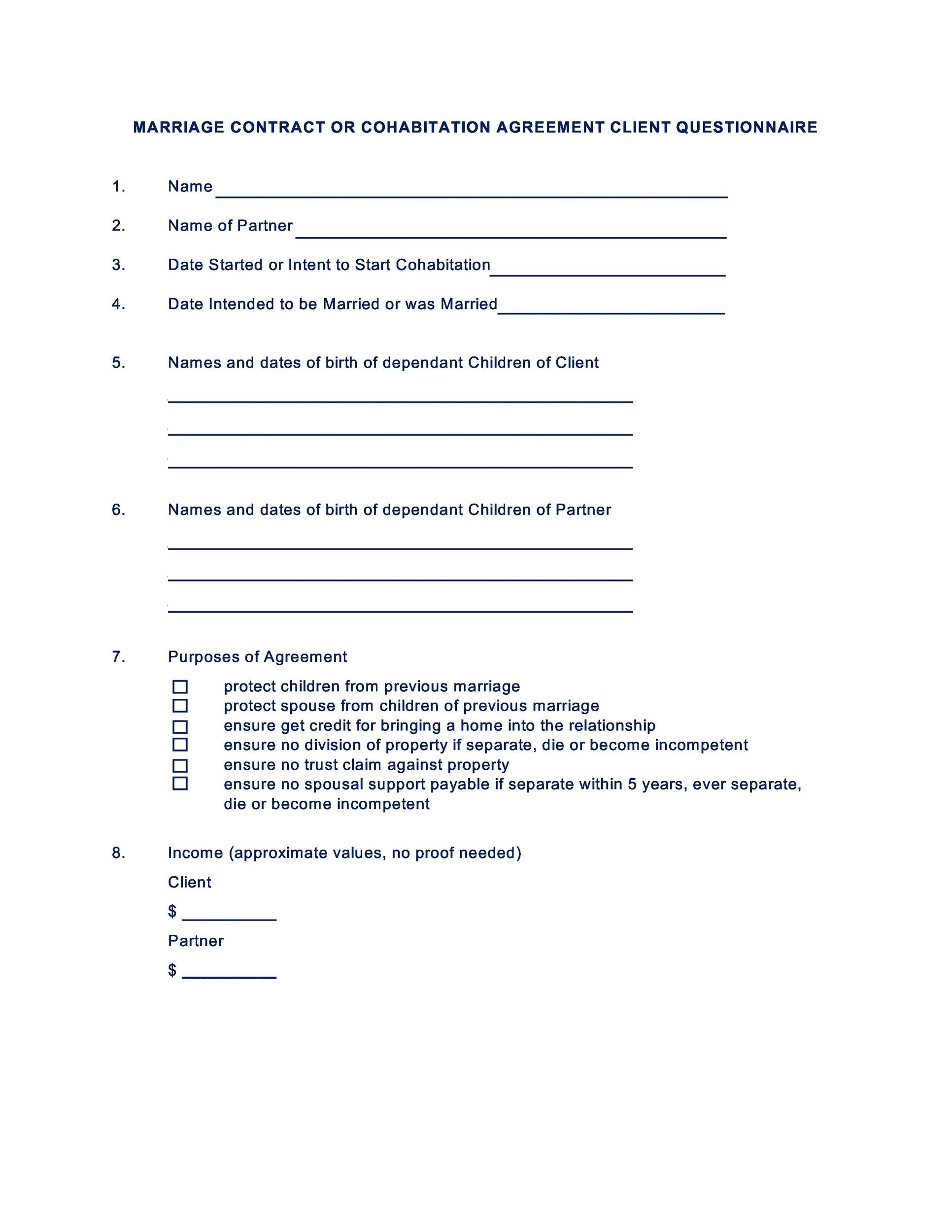 Free marriage contract template 12