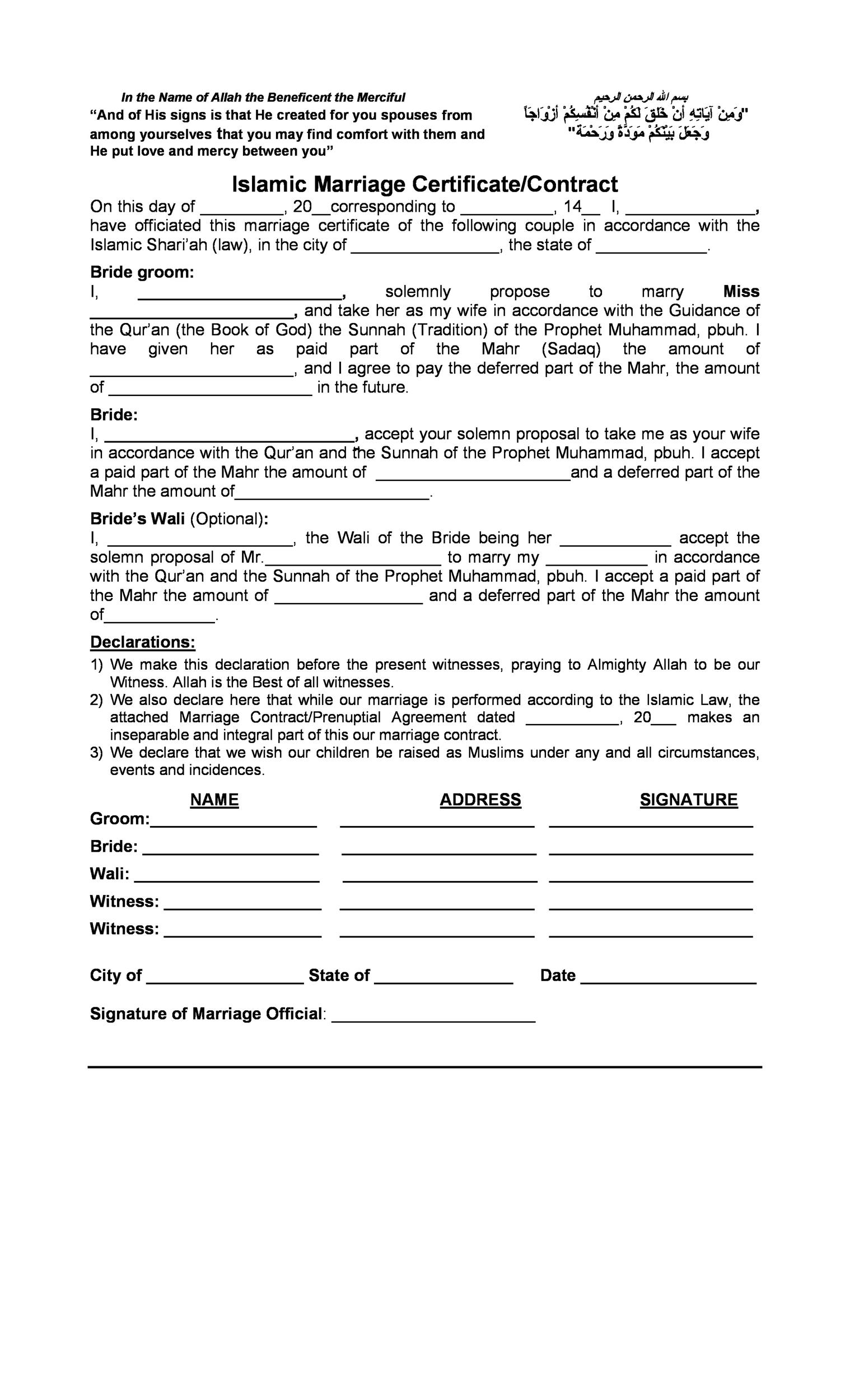 Free marriage contract template 16