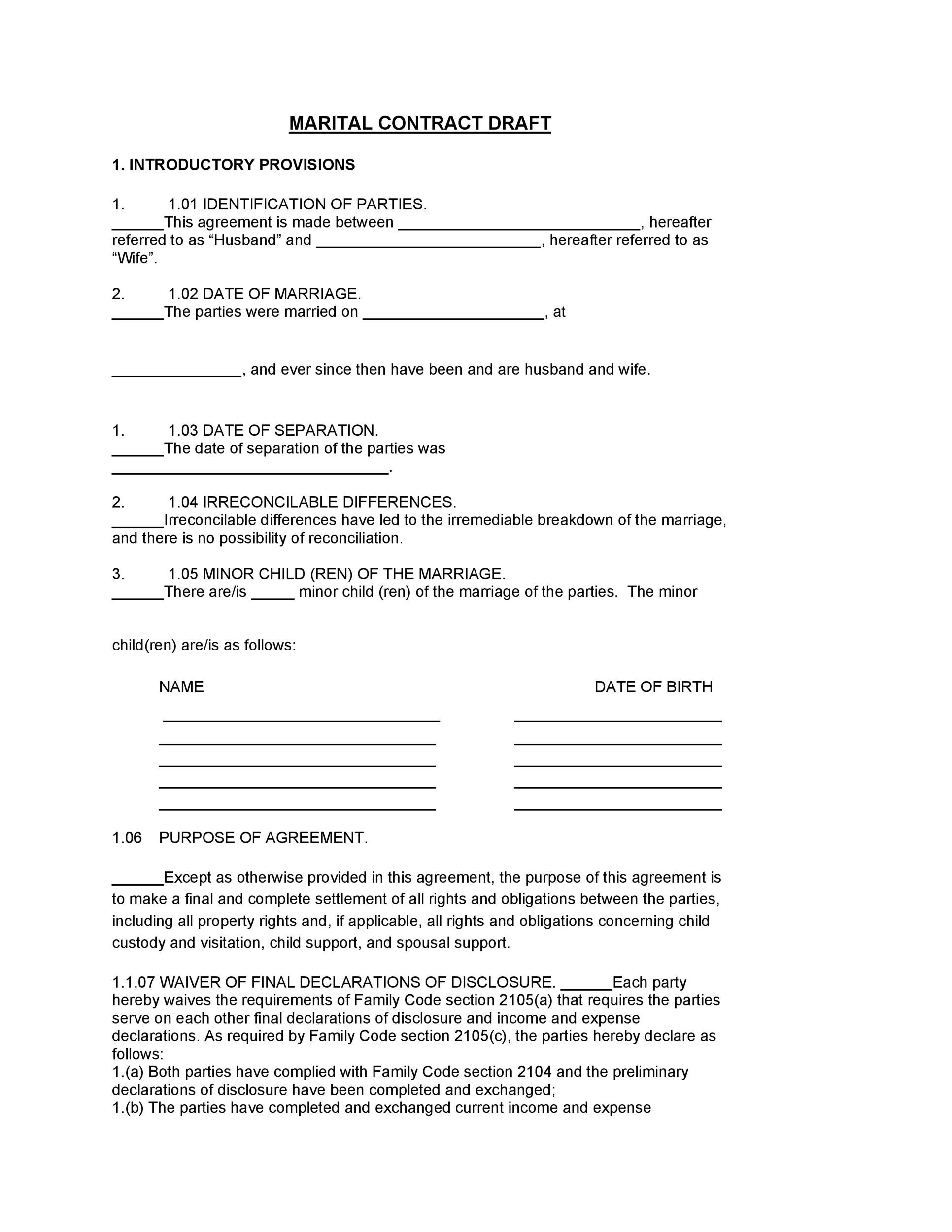 Free marriage contract template 17