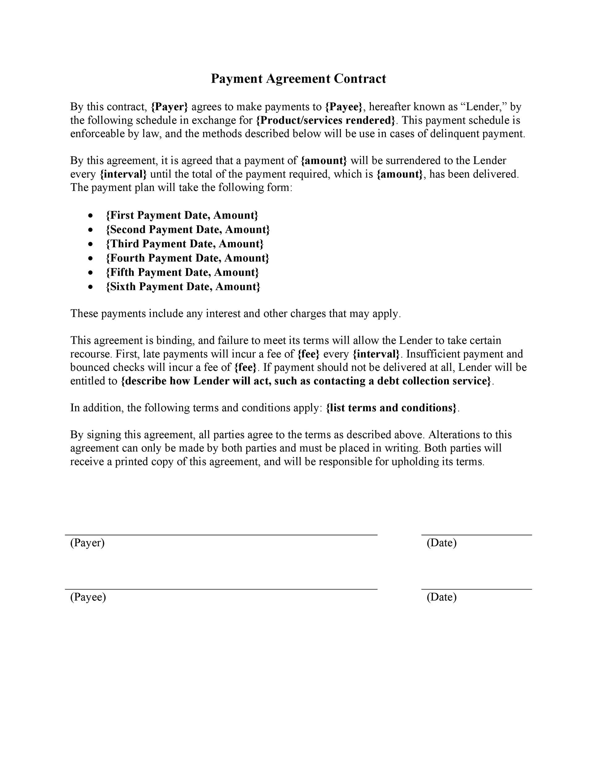 Printable Payment Agreement Template 04  Agreement Templates