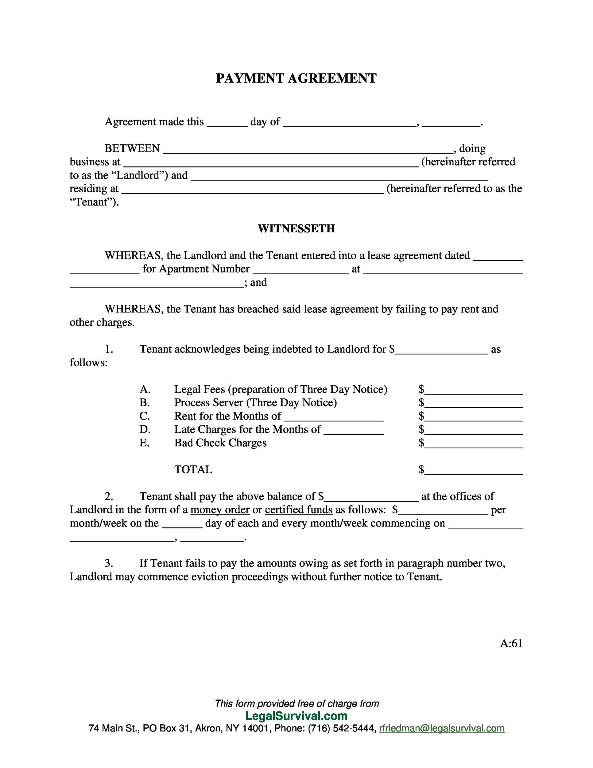 Payment Agreement 40 Templates Contracts Template Lab