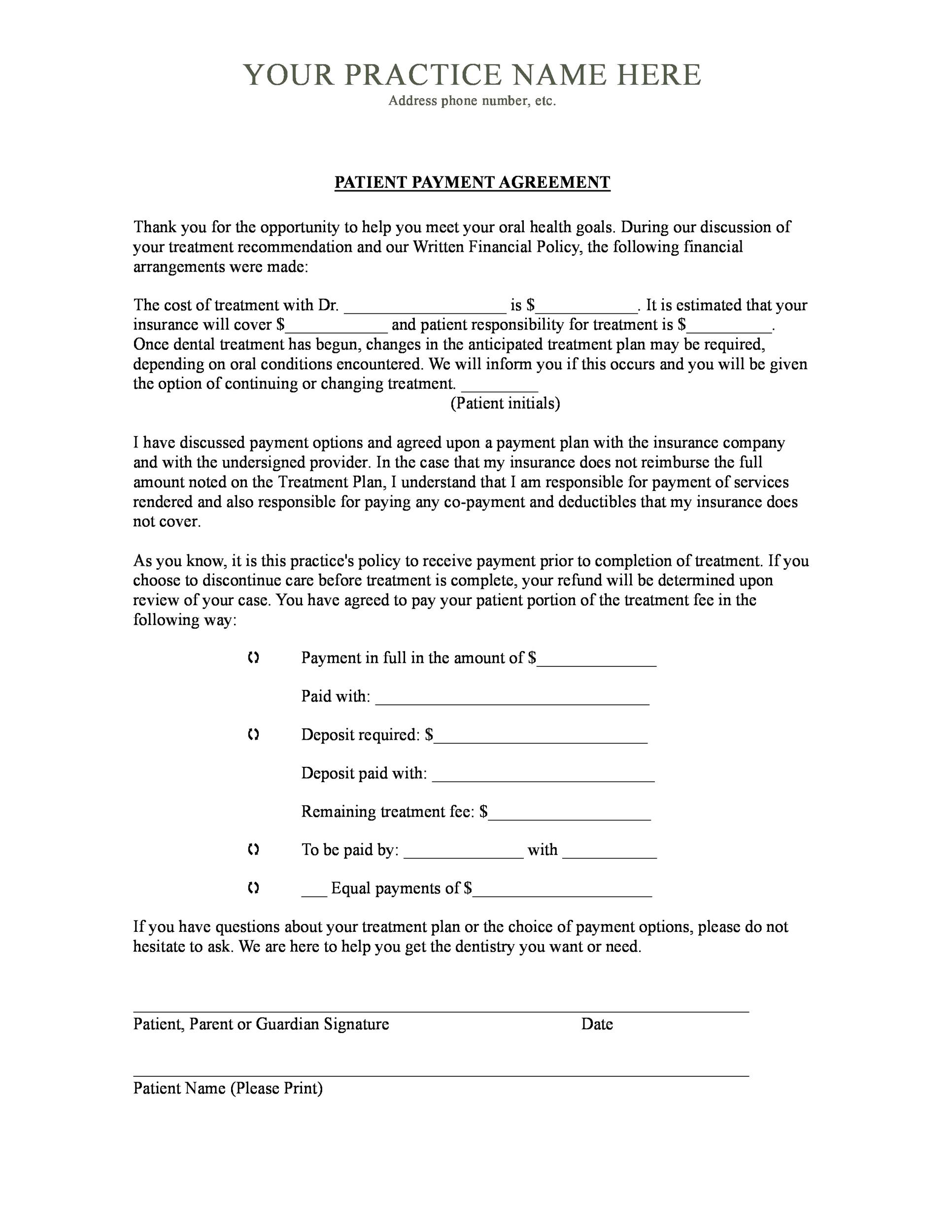 free payment agreement template 18