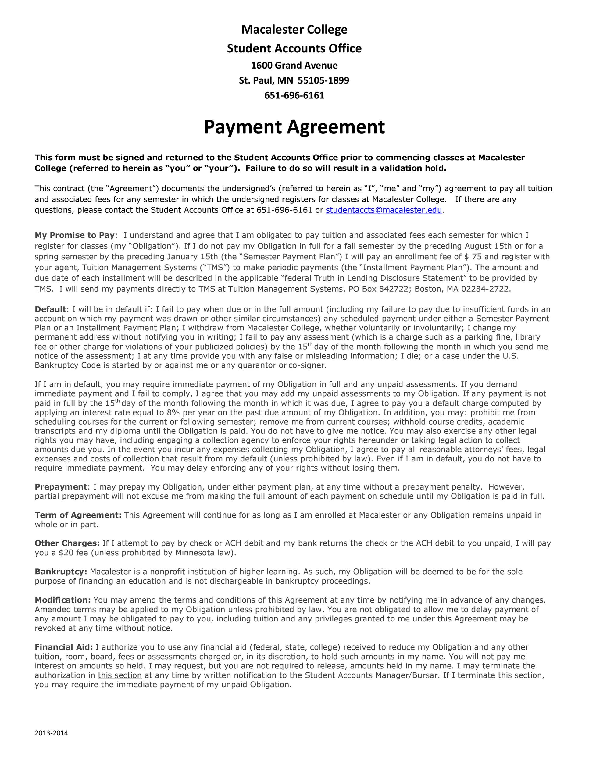 Free payment agreement template 22
