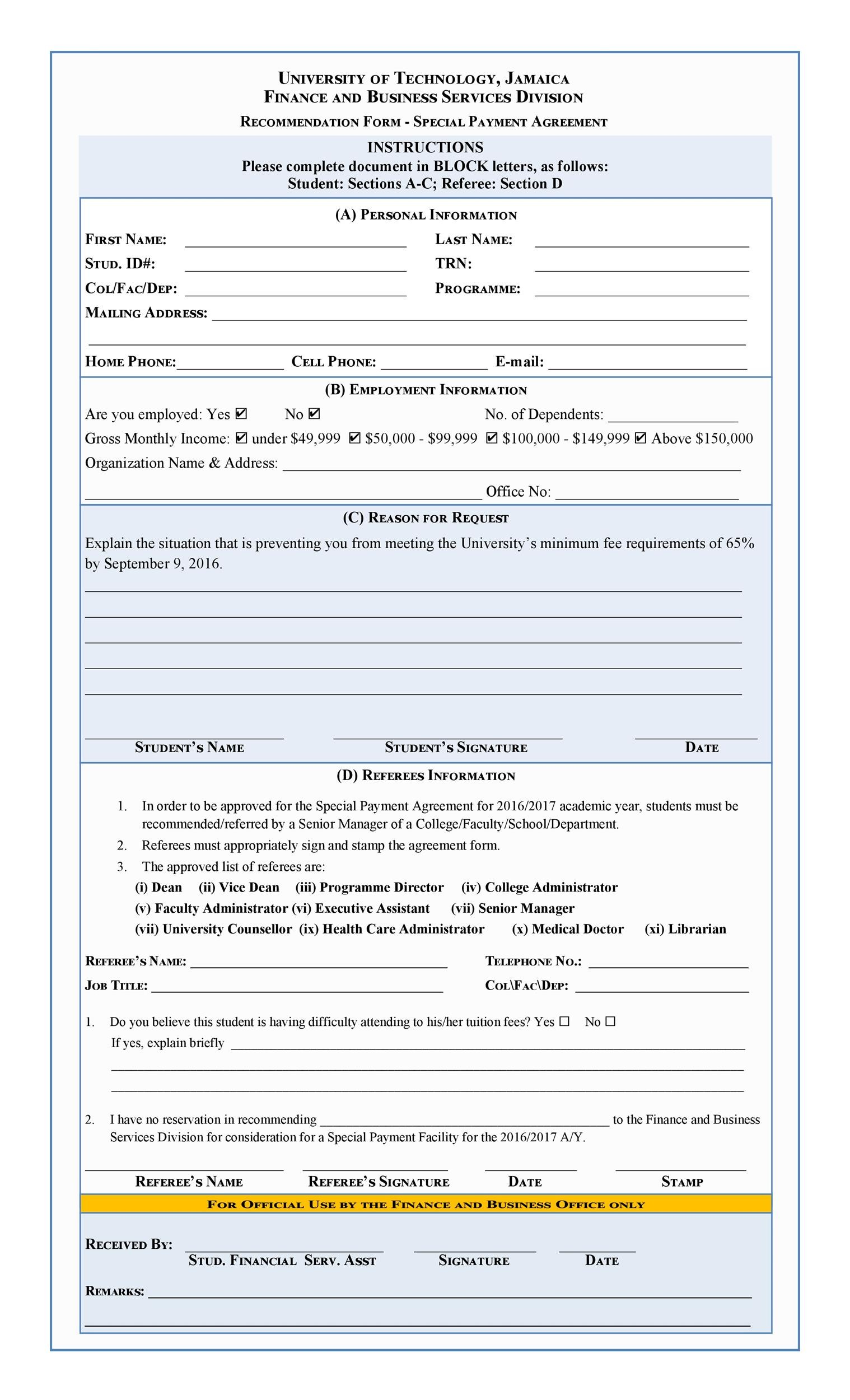 Printable Payment Agreement Template 28  Monthly Payment Template