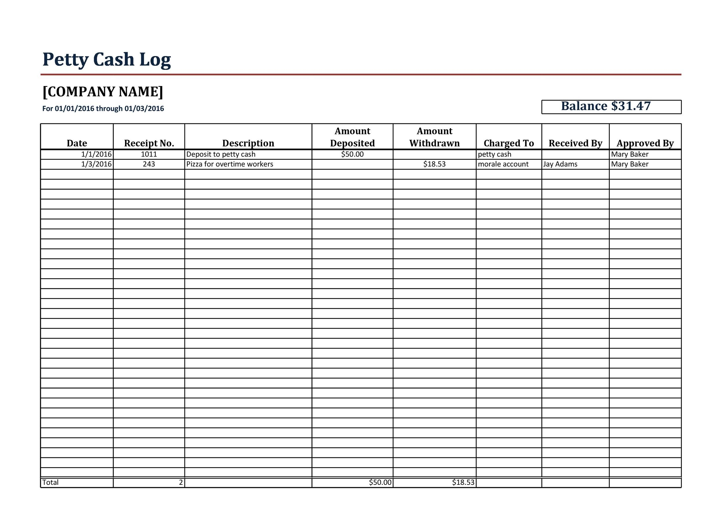 40 Petty Cash Log Templates & Forms Excel, PDF, Word ᐅ ...