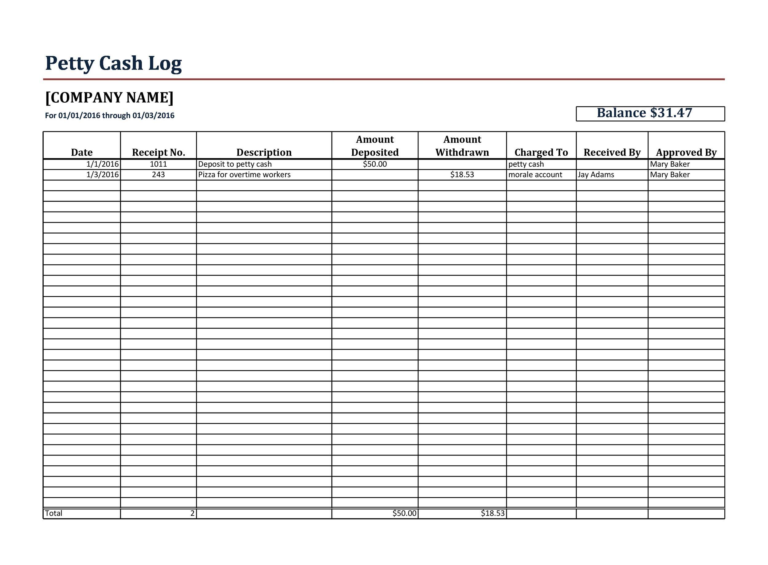 Free petty cash log 04
