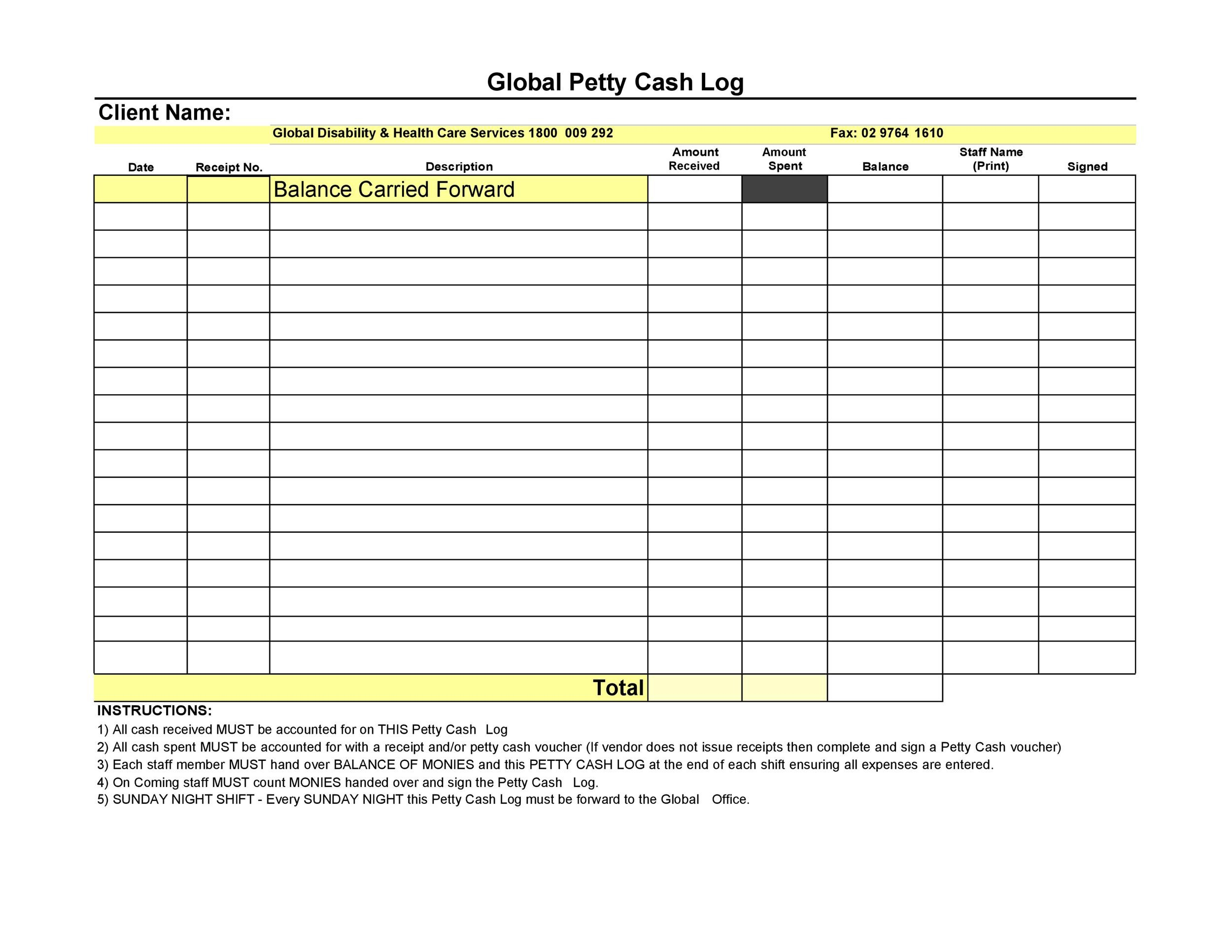Petty Cash Log Templates  Forms Excel Pdf Word  Template Lab
