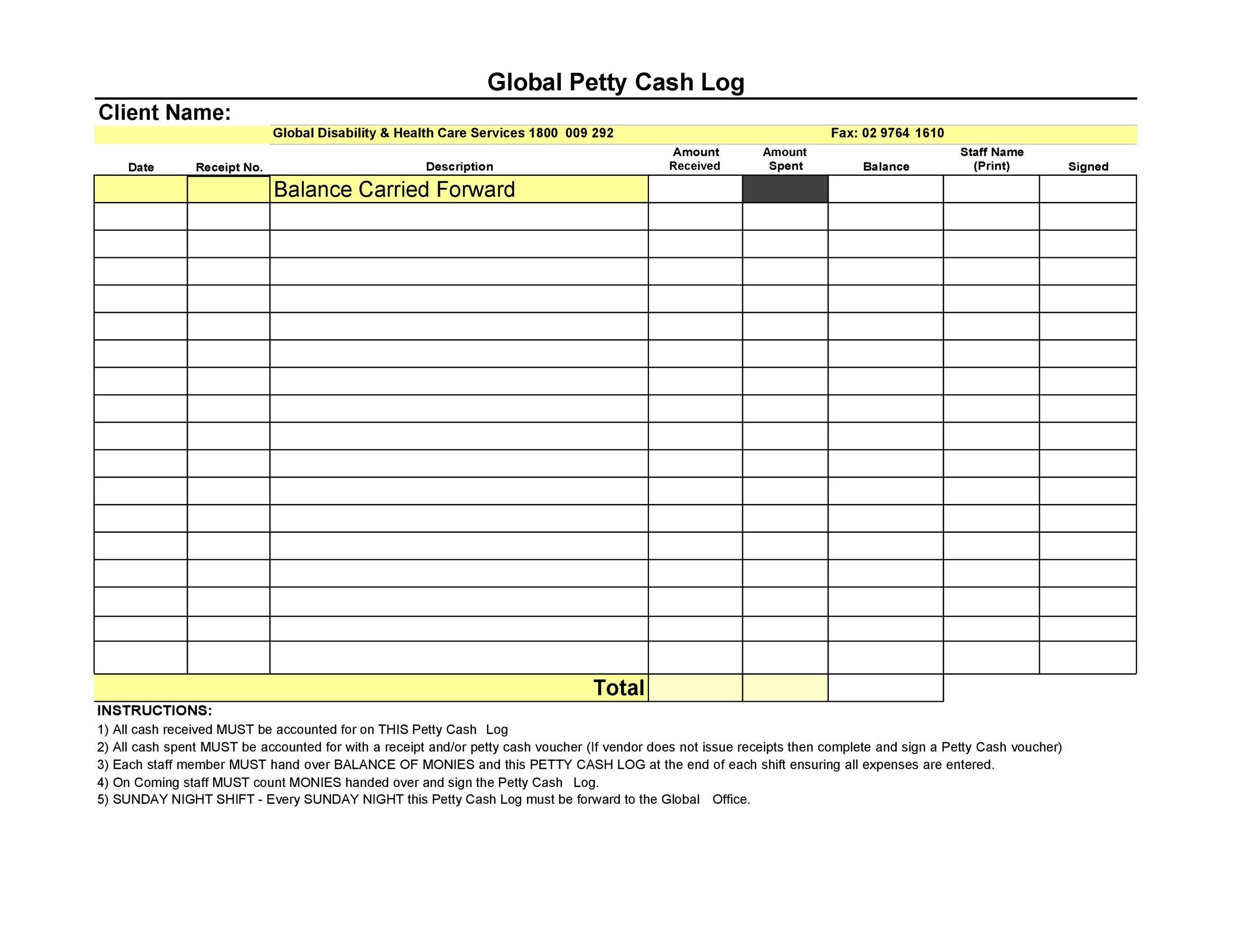 40 Petty Cash Log Templates & Forms [Excel, PDF, Word] ᐅ ...