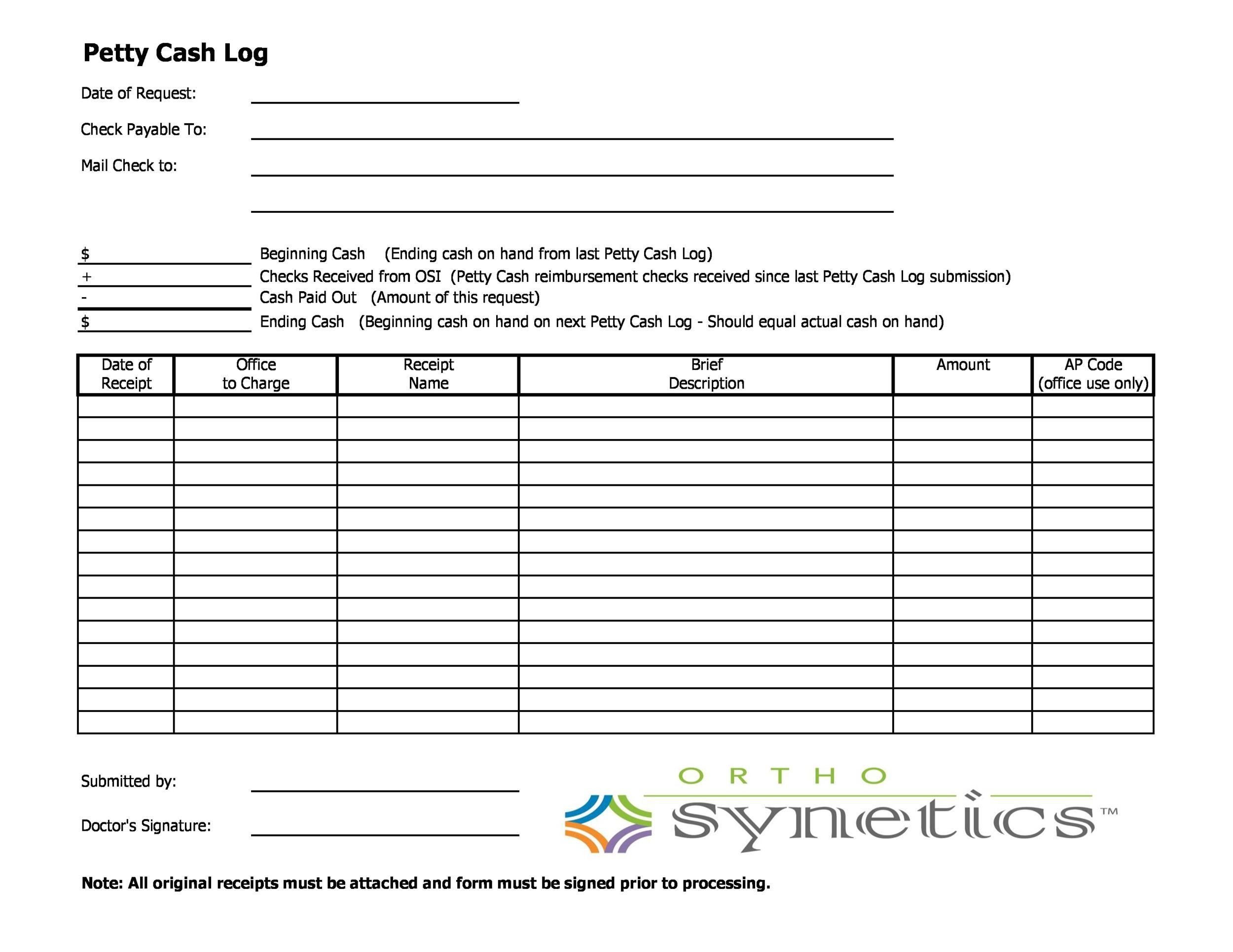 Free petty cash log 16