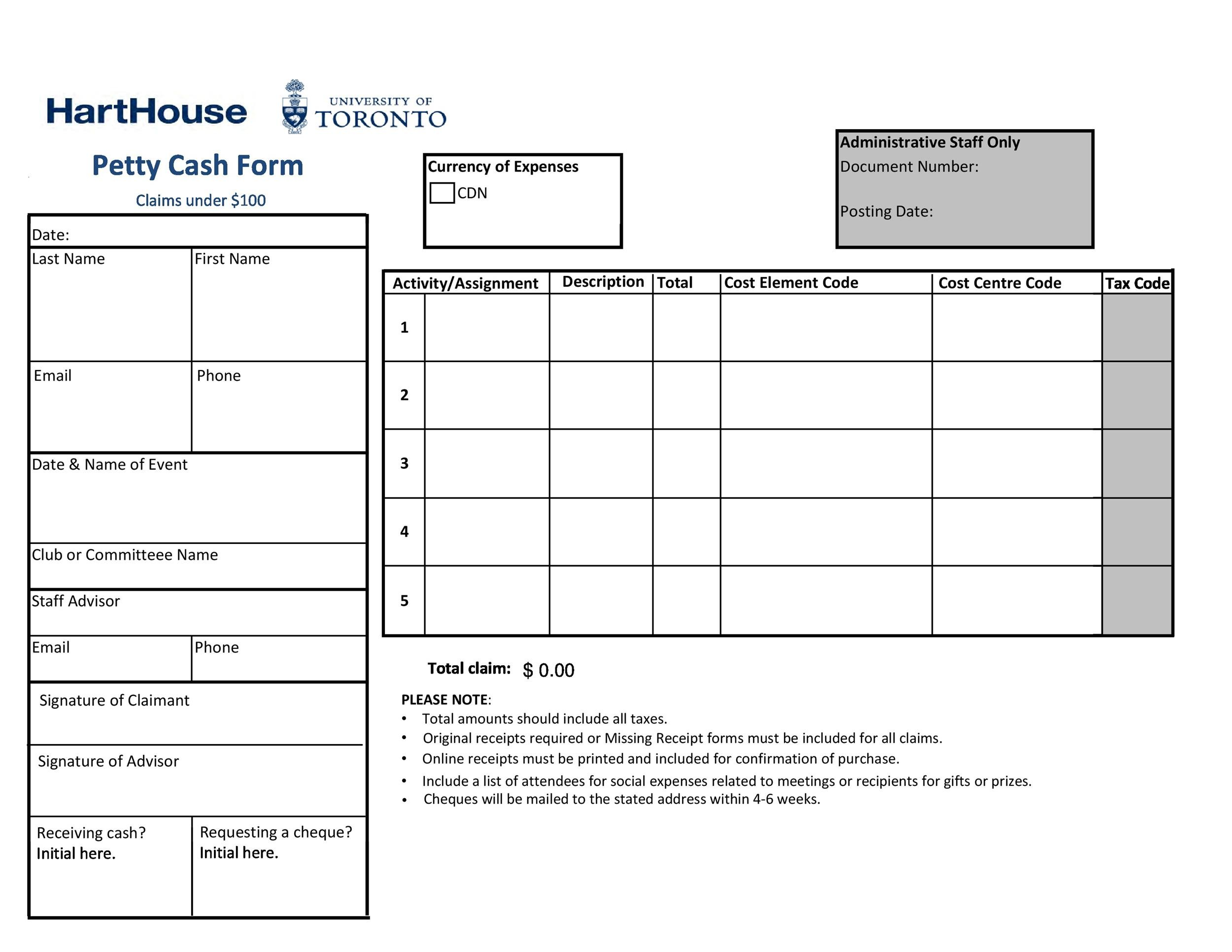Free petty cash log 34