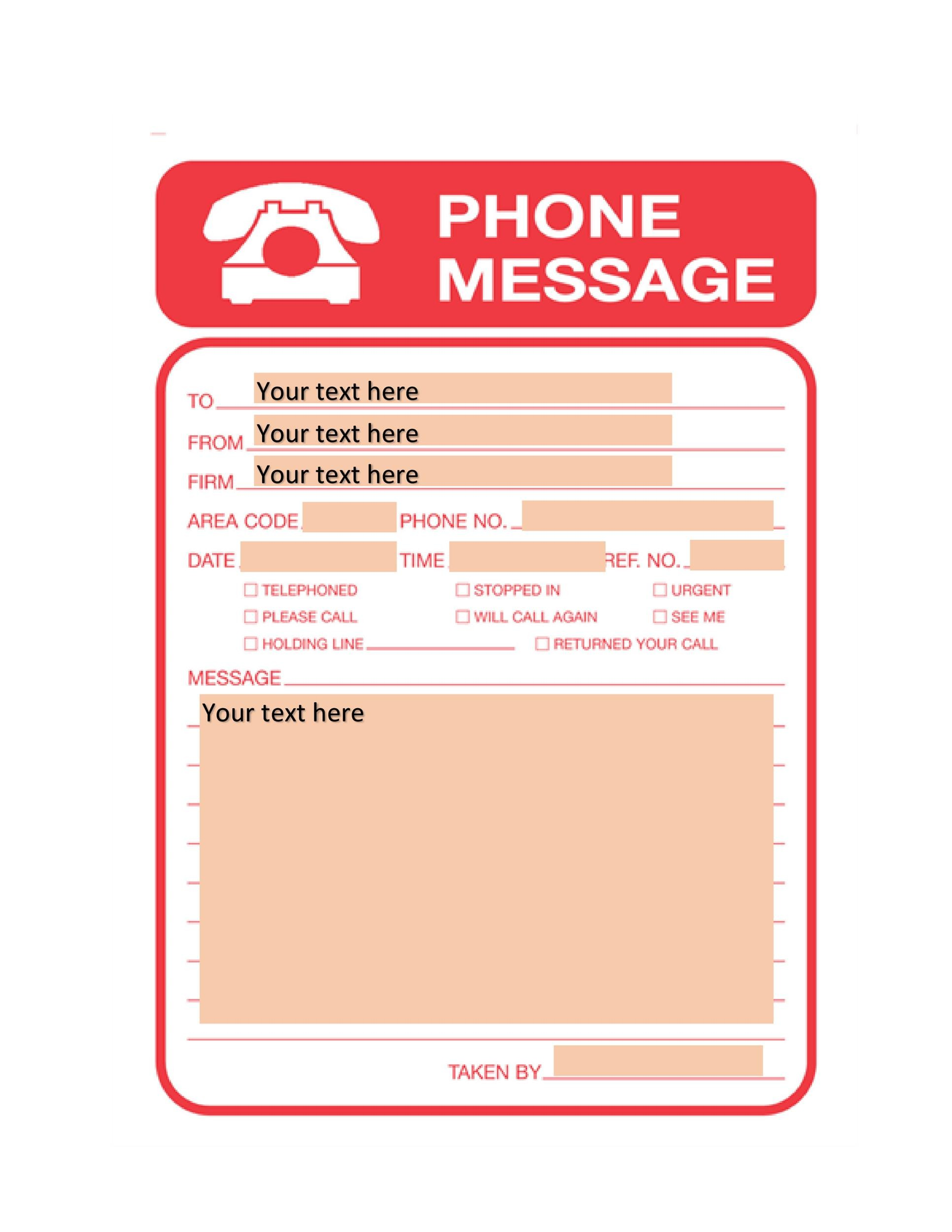 Free phone message template 18