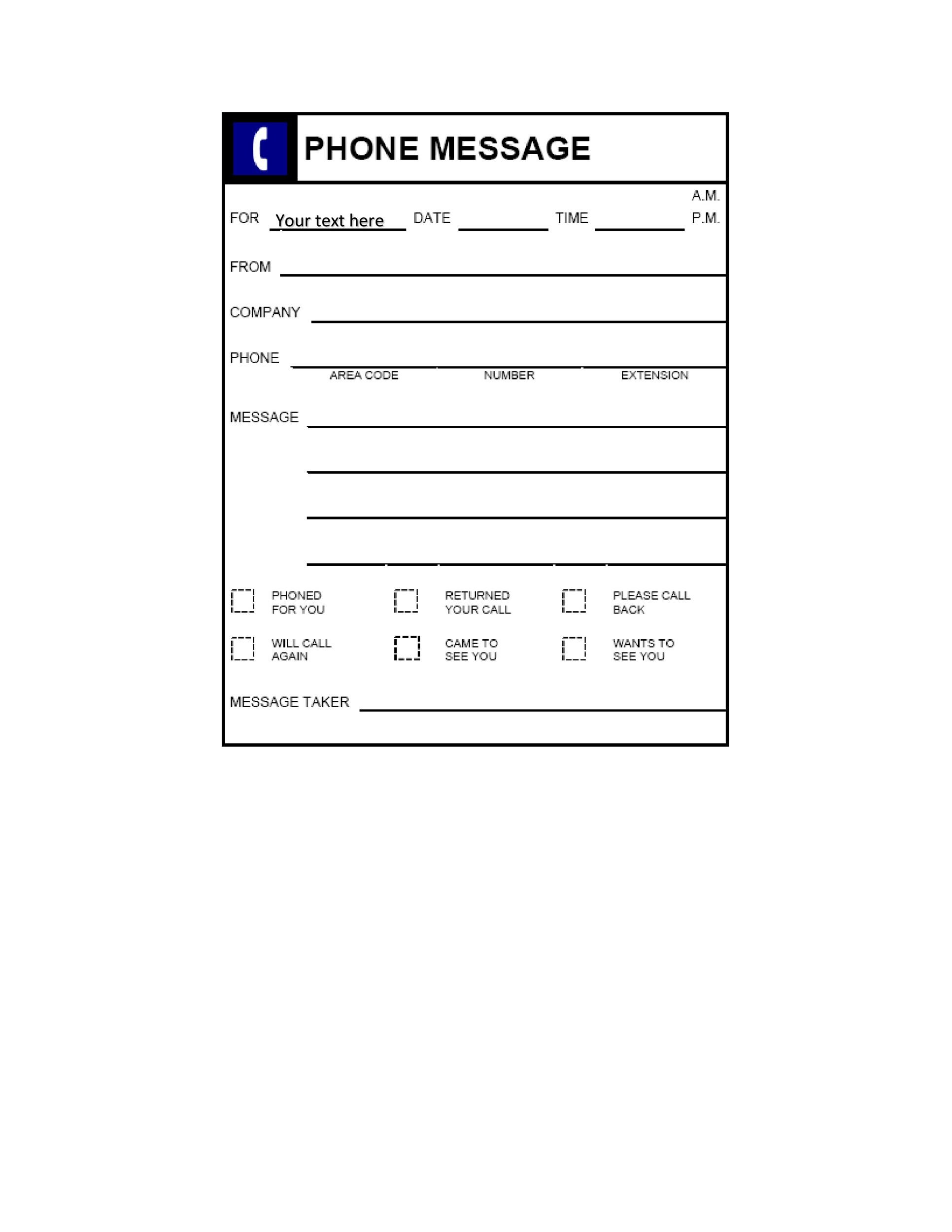 Free phone message template 22