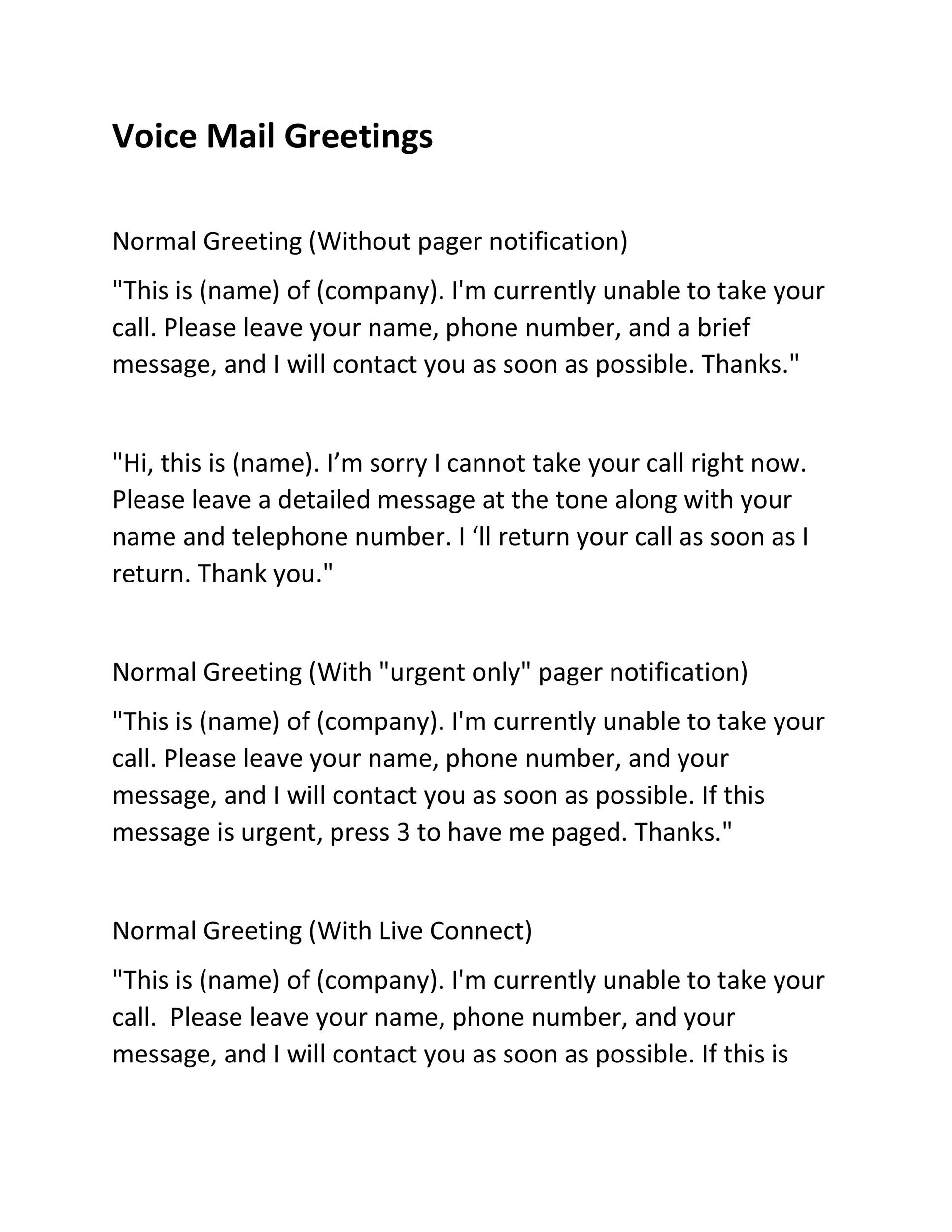40 Voicemail Greetings Phone Message Templates Business Funny – Telephone Number Template