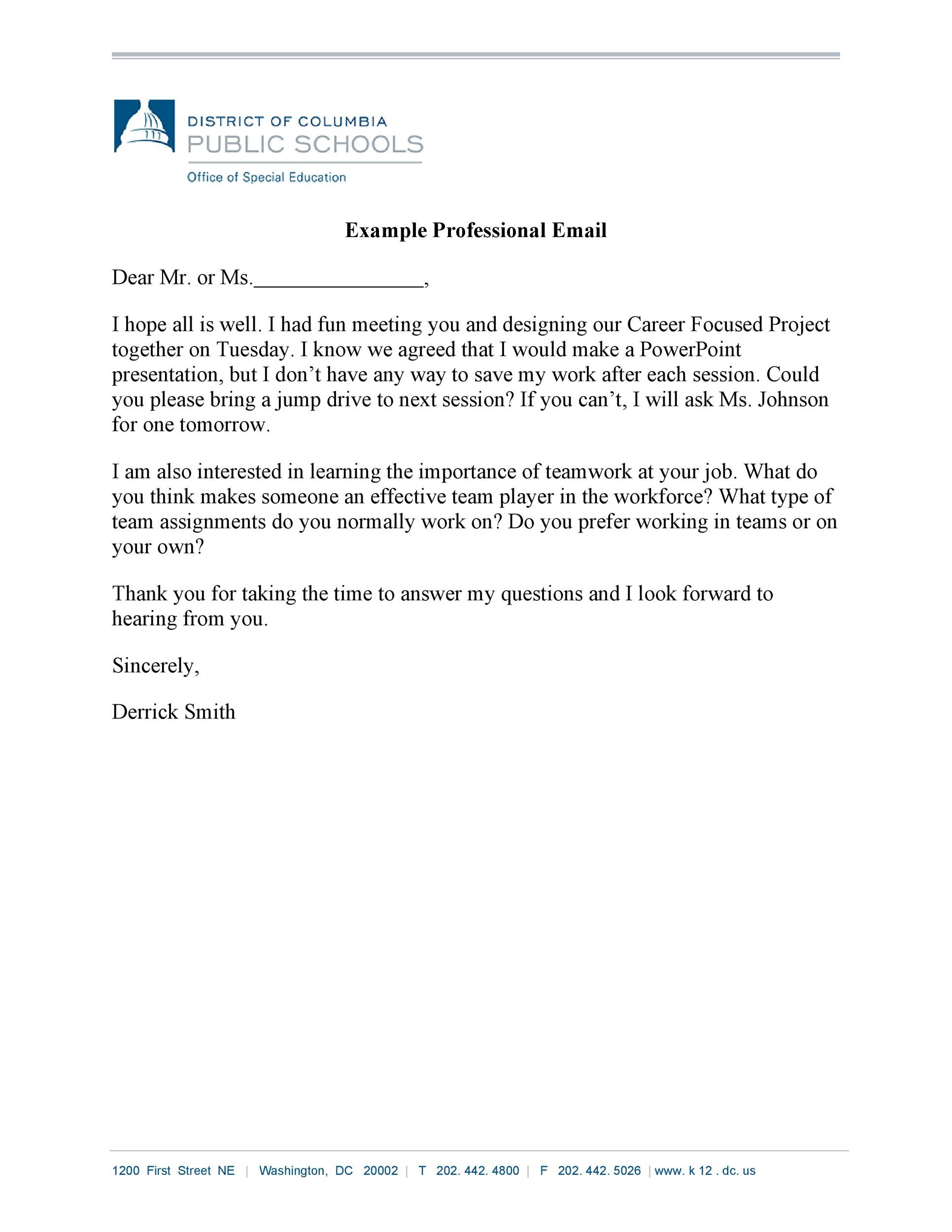 Free professional email example 05