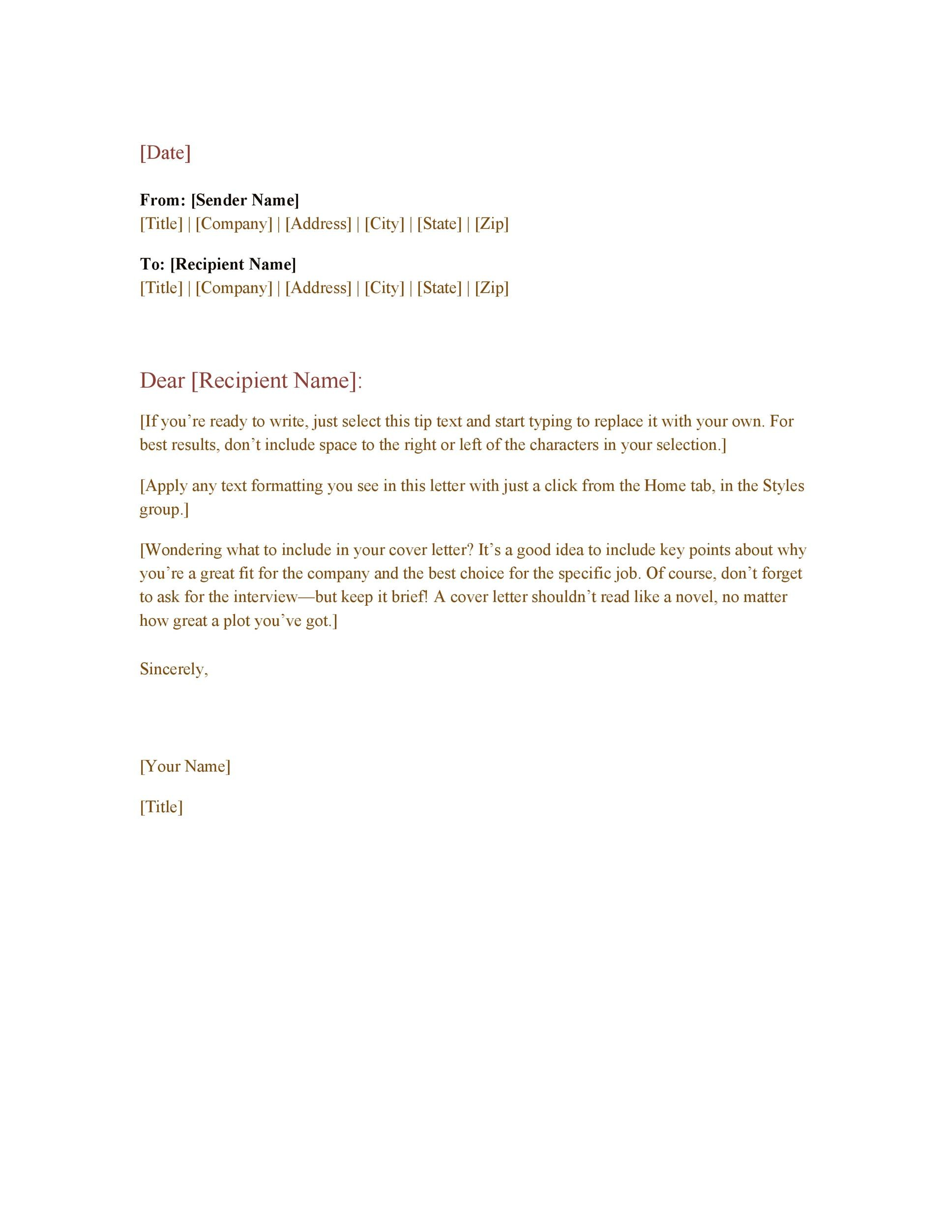 free professional email example 06 - 40 What Is The Proper Format For A Business Letter Practical