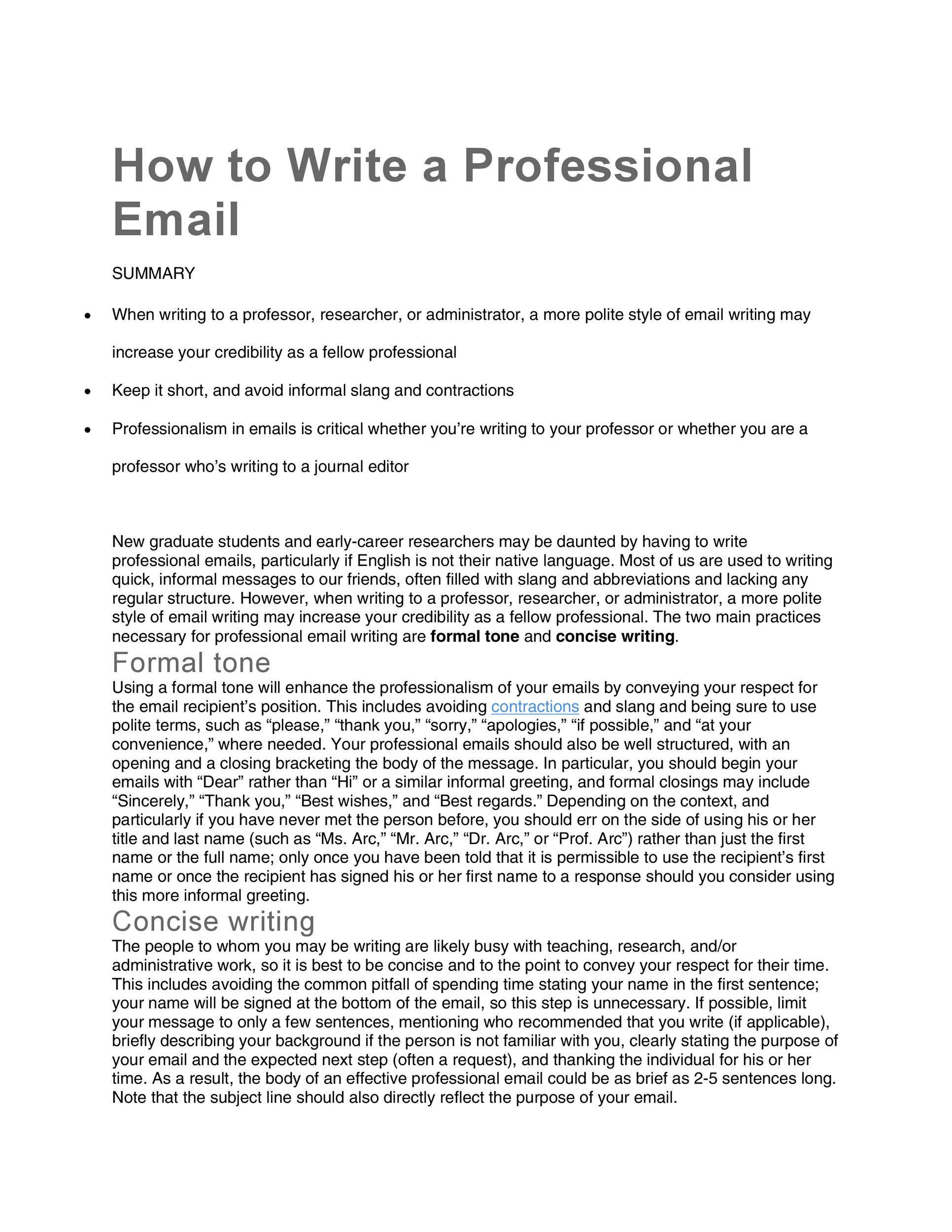 how to write a professional email asking for something