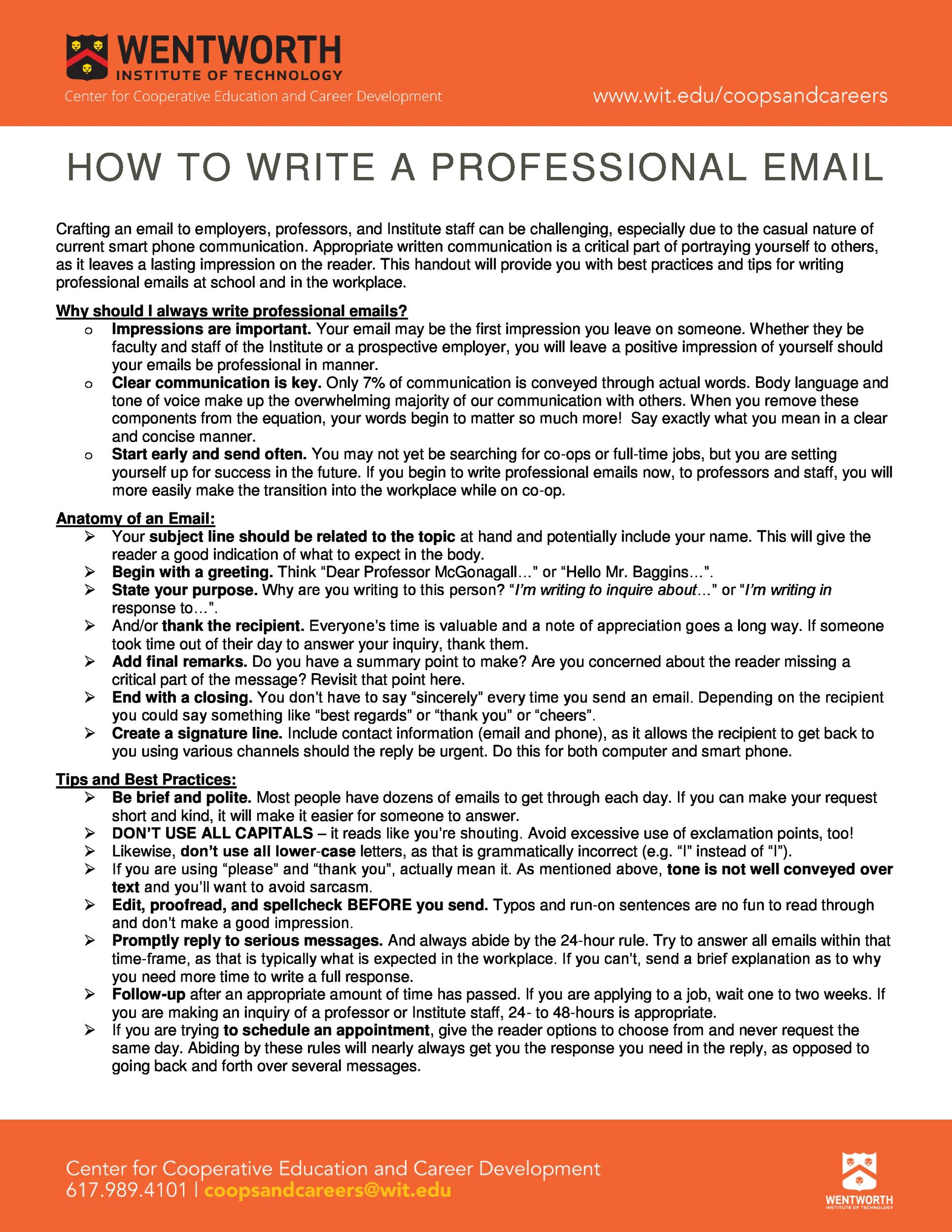 how to write a professional email examples