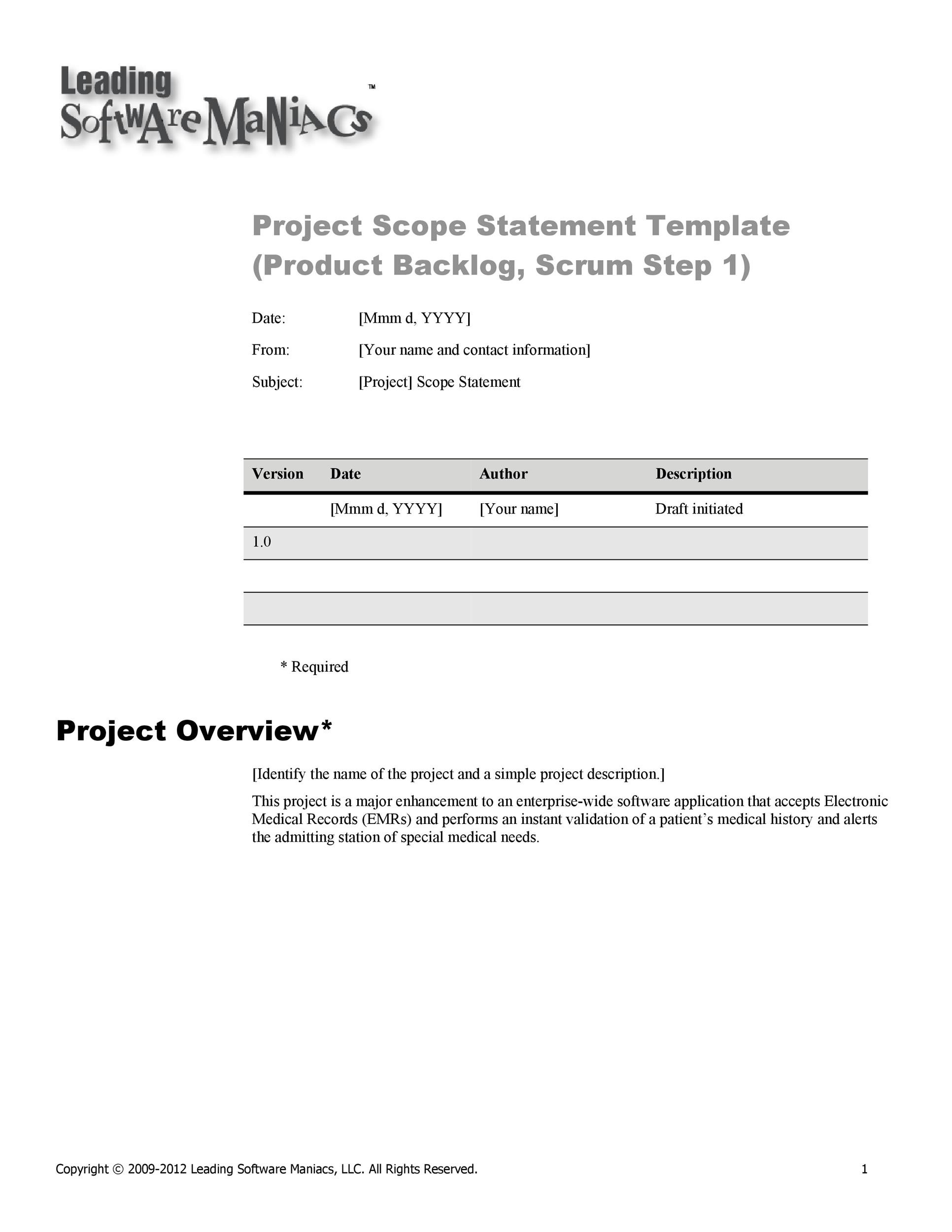 Project Scope Example 11 Template Lab Project Scope Example 11 Project  Scope Example 11 2. Project Overview Template Project Overview Template