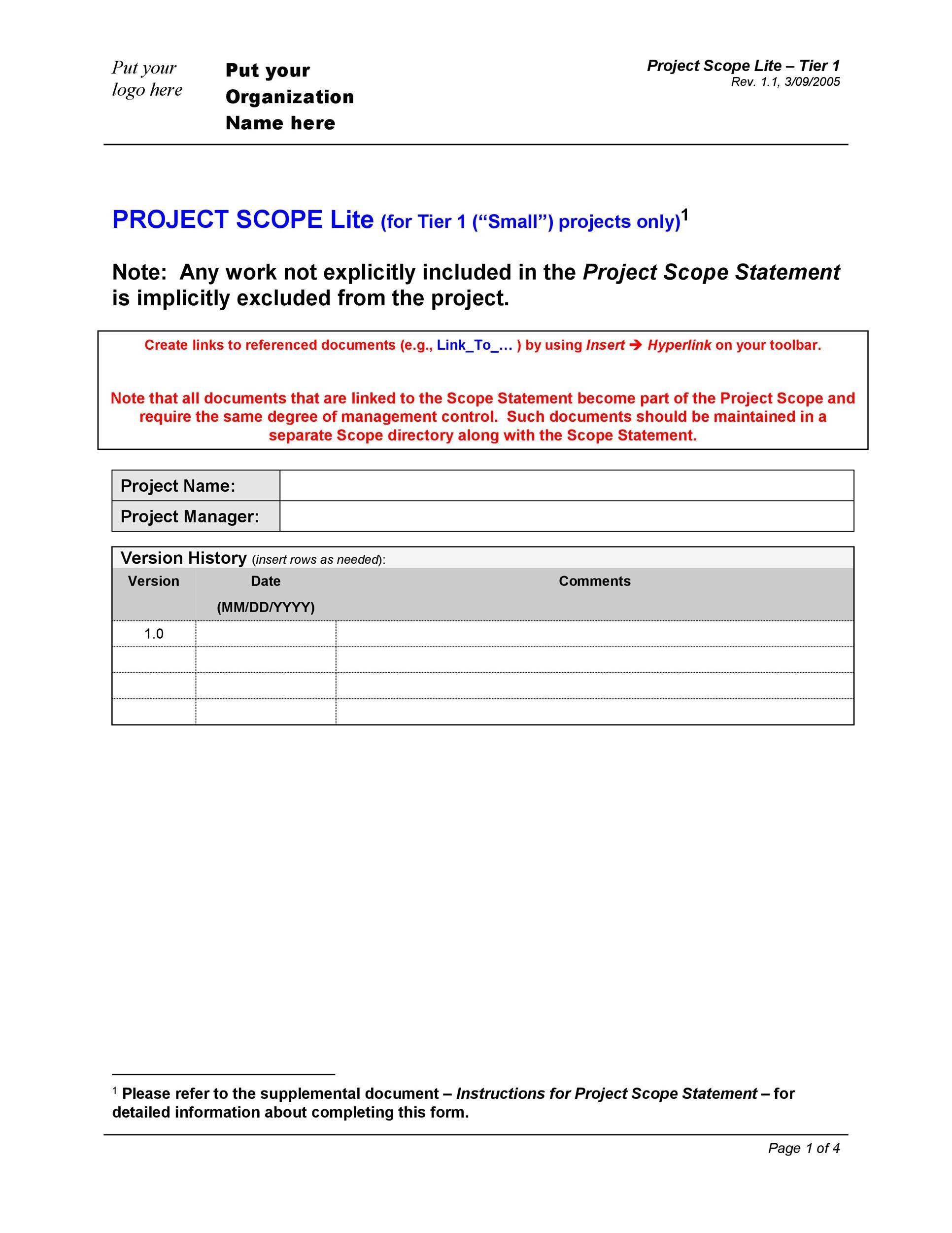 project scope statement example pdf