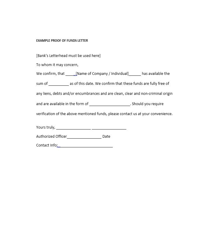 Best Proof Of Funds Letter Templates  Template Lab