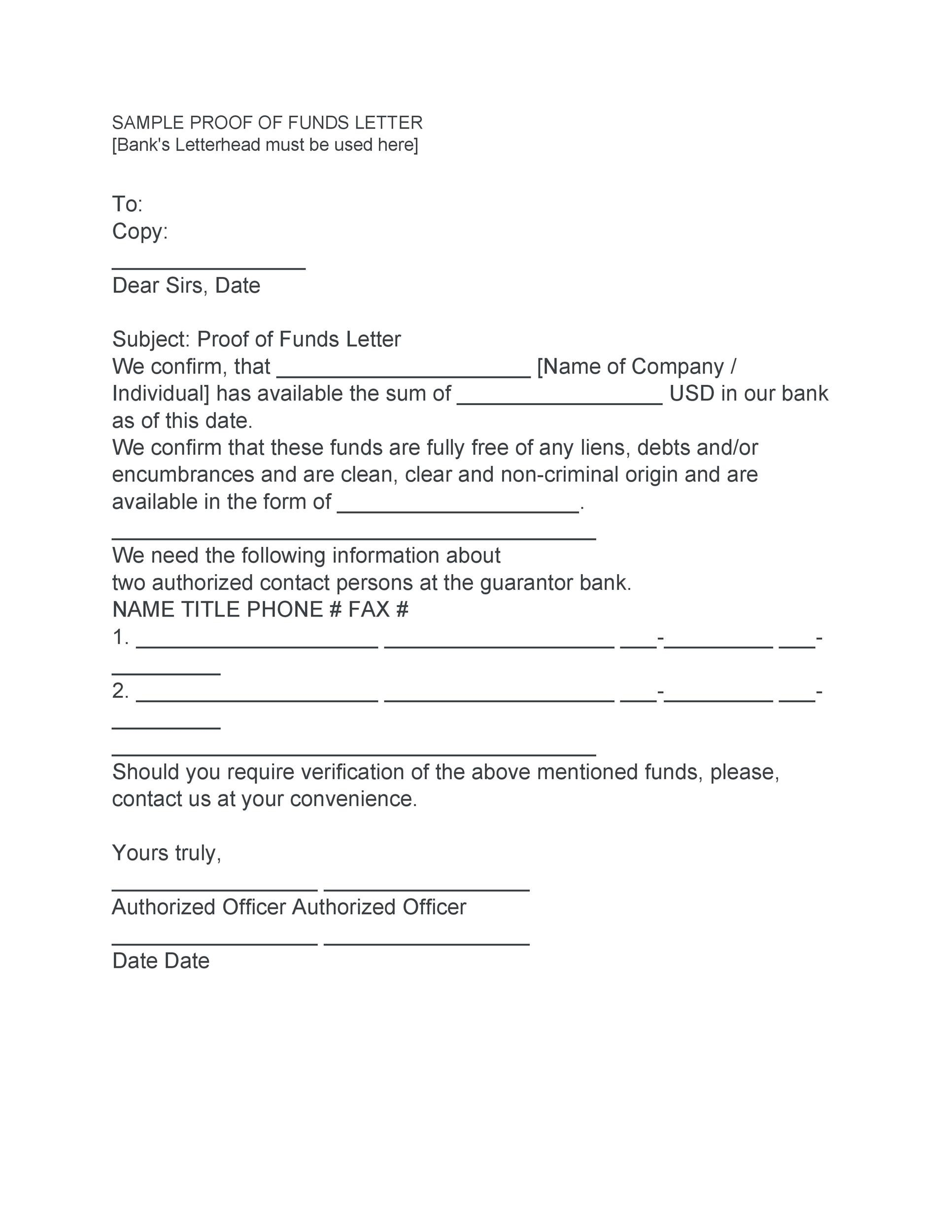 25 Best Proof Of Funds Letter Templates - Template Lab