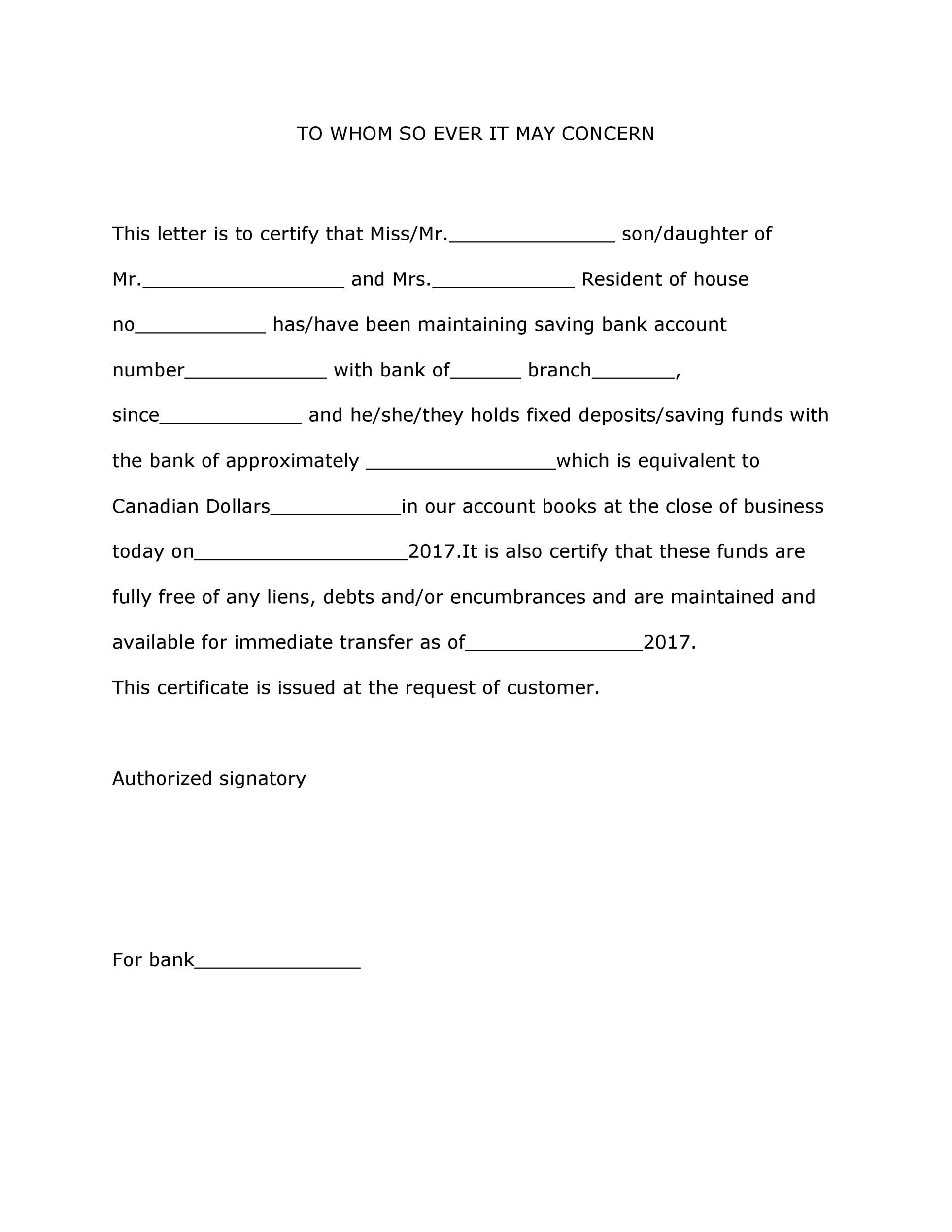 Free proof of funds letter template 04