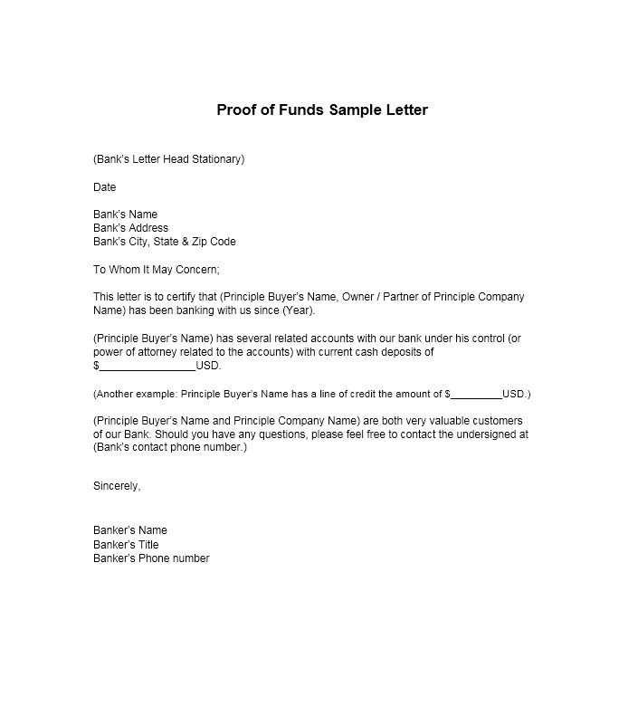 25 Best Proof Of Funds Letter Templates Template Lab