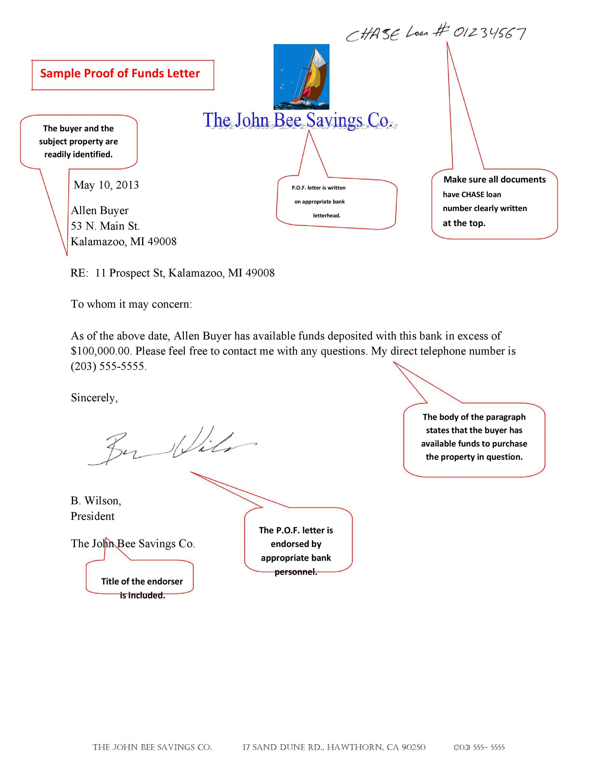 Free proof of funds letter template 12