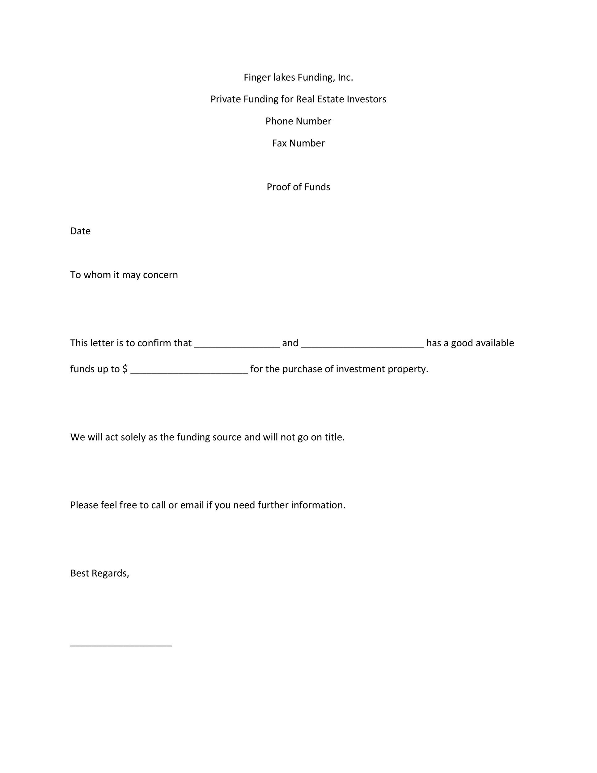 Printable Proof Of Funds Letter Template 13  Purchase Inquiry Letter