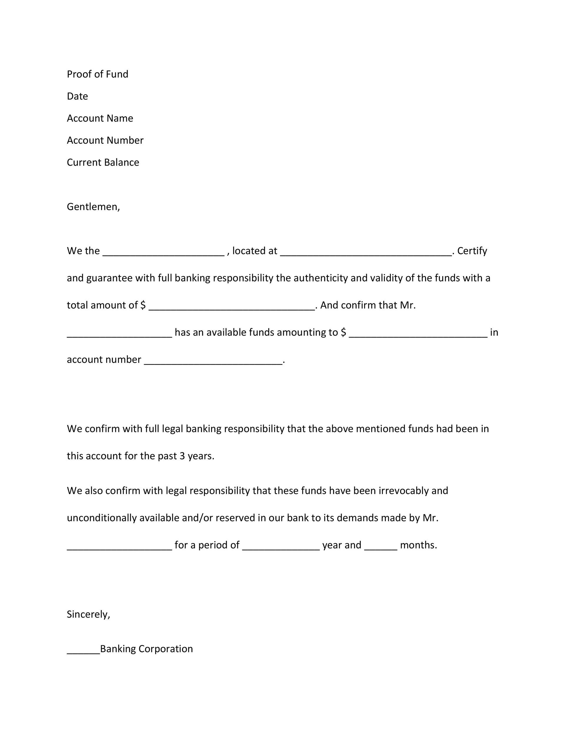 Free proof of funds letter template 15