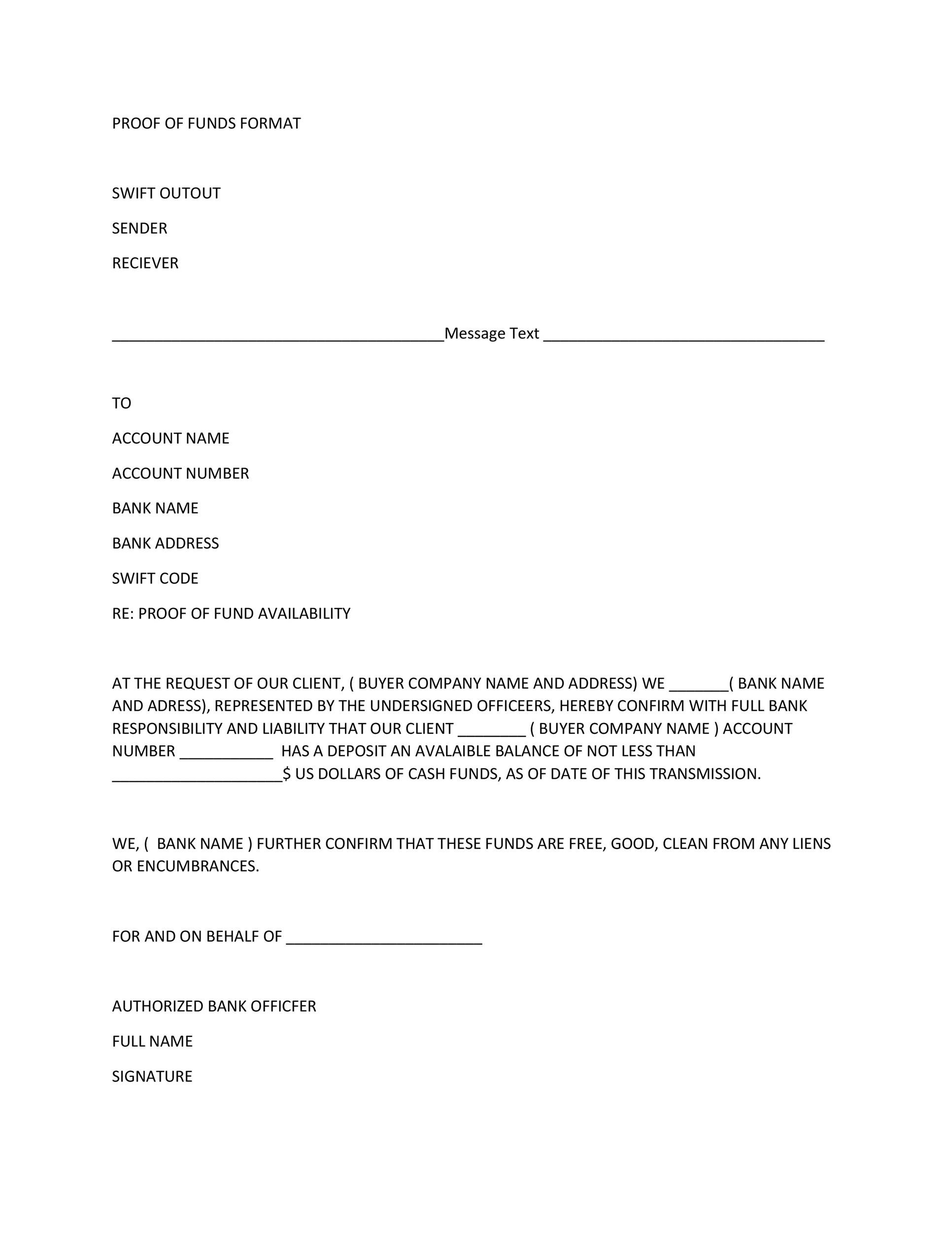 Free proof of funds letter template 16