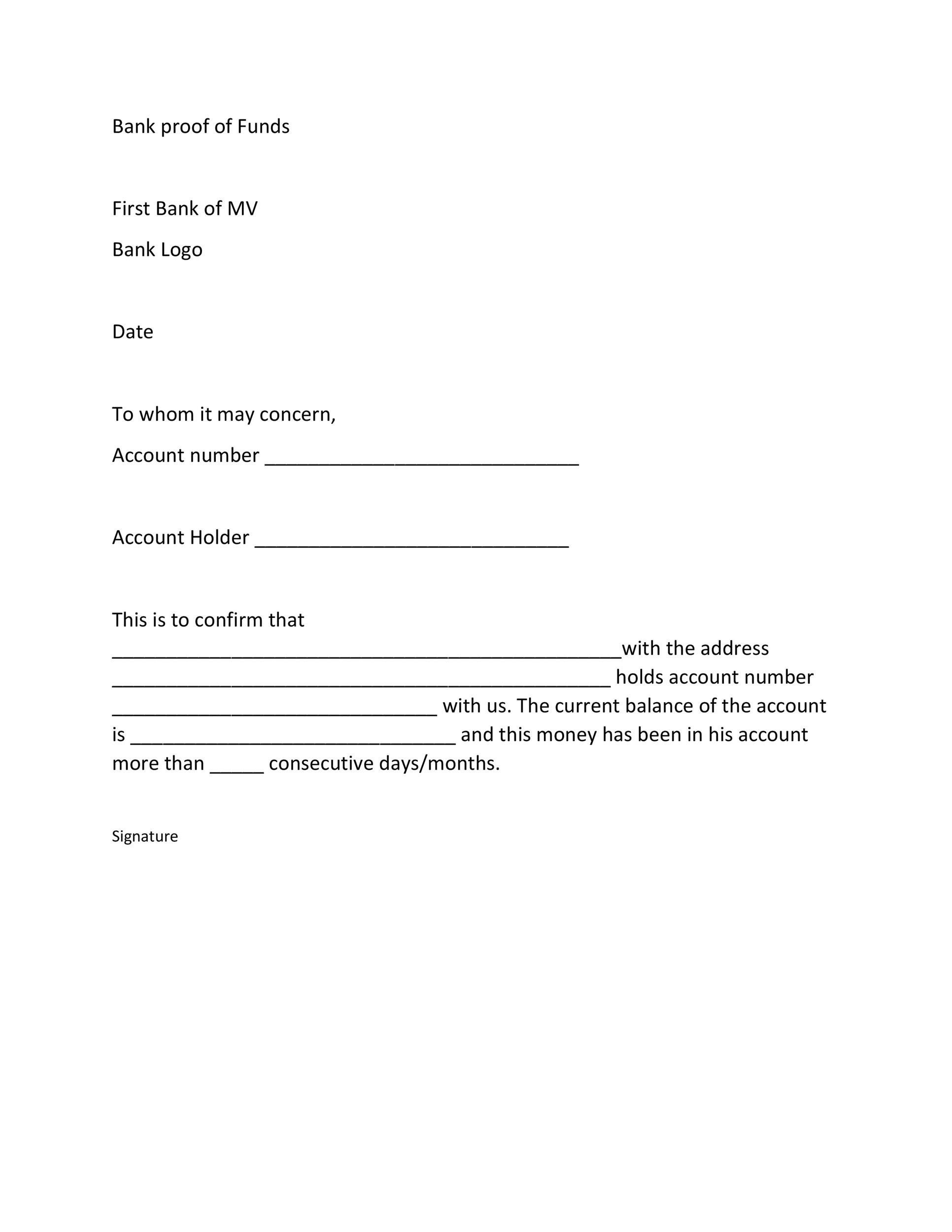 Free proof of funds letter template 20
