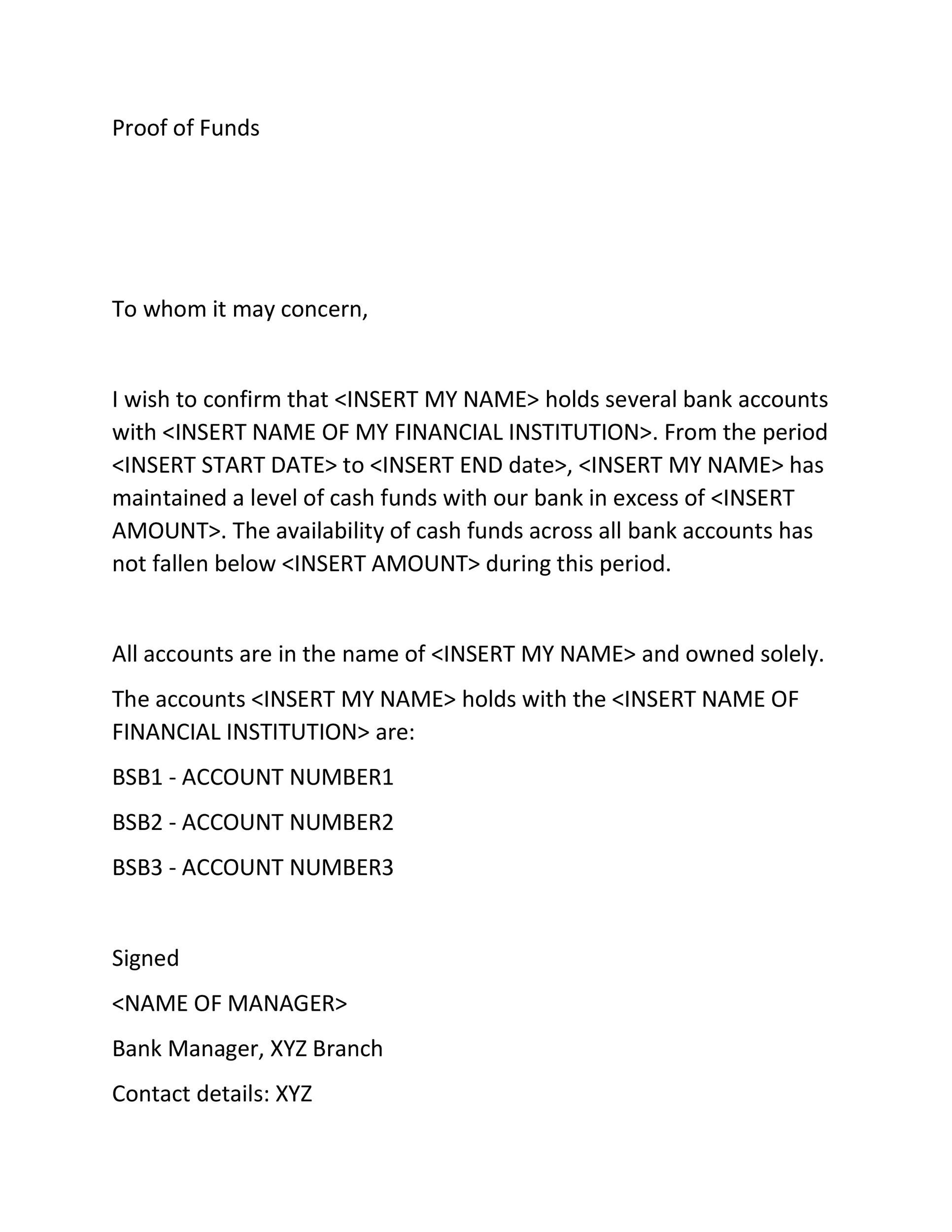 Free proof of funds letter template 23