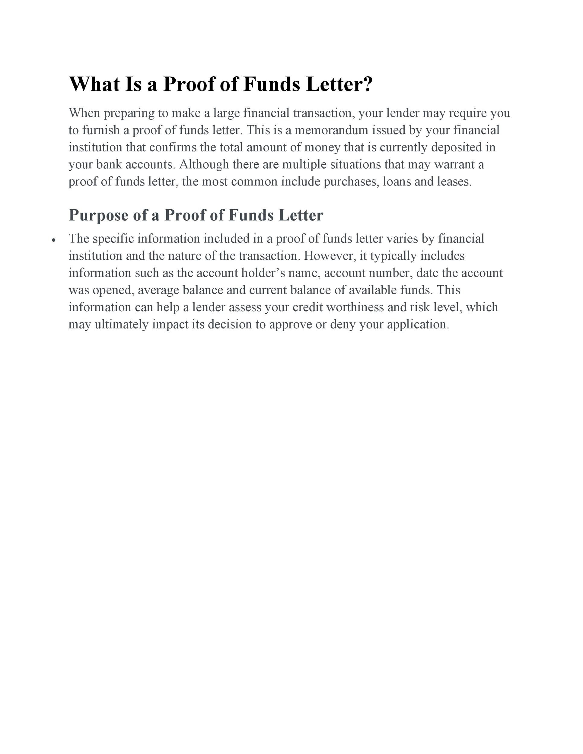 Free proof of funds letter template 24