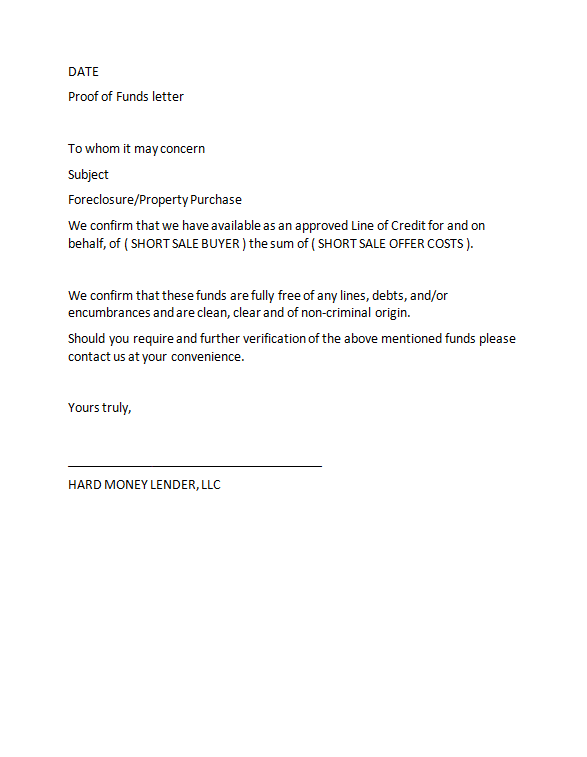 Free proof of funds letter template 25